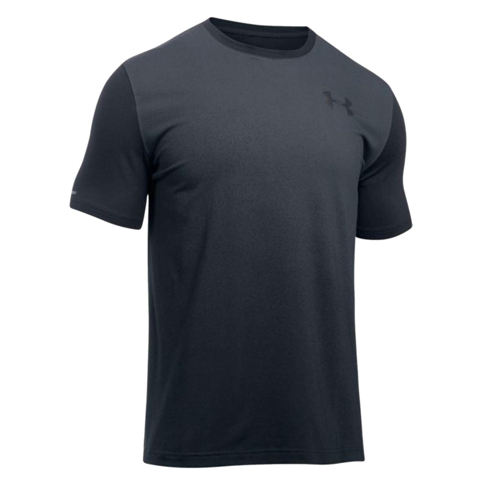 تی شرت نخی یقه گرد مردانه - آندر آرمور - طوسي و مشکي - 1
