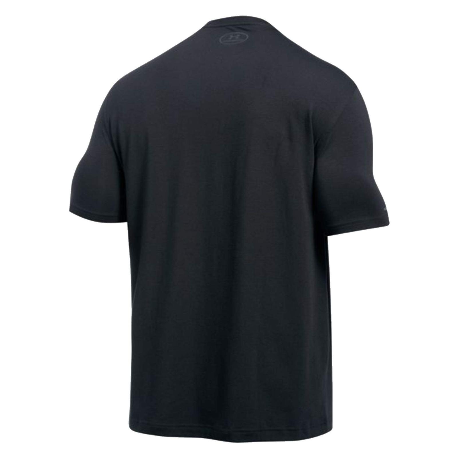 تی شرت نخی یقه گرد مردانه - آندر آرمور - طوسي و مشکي - 2