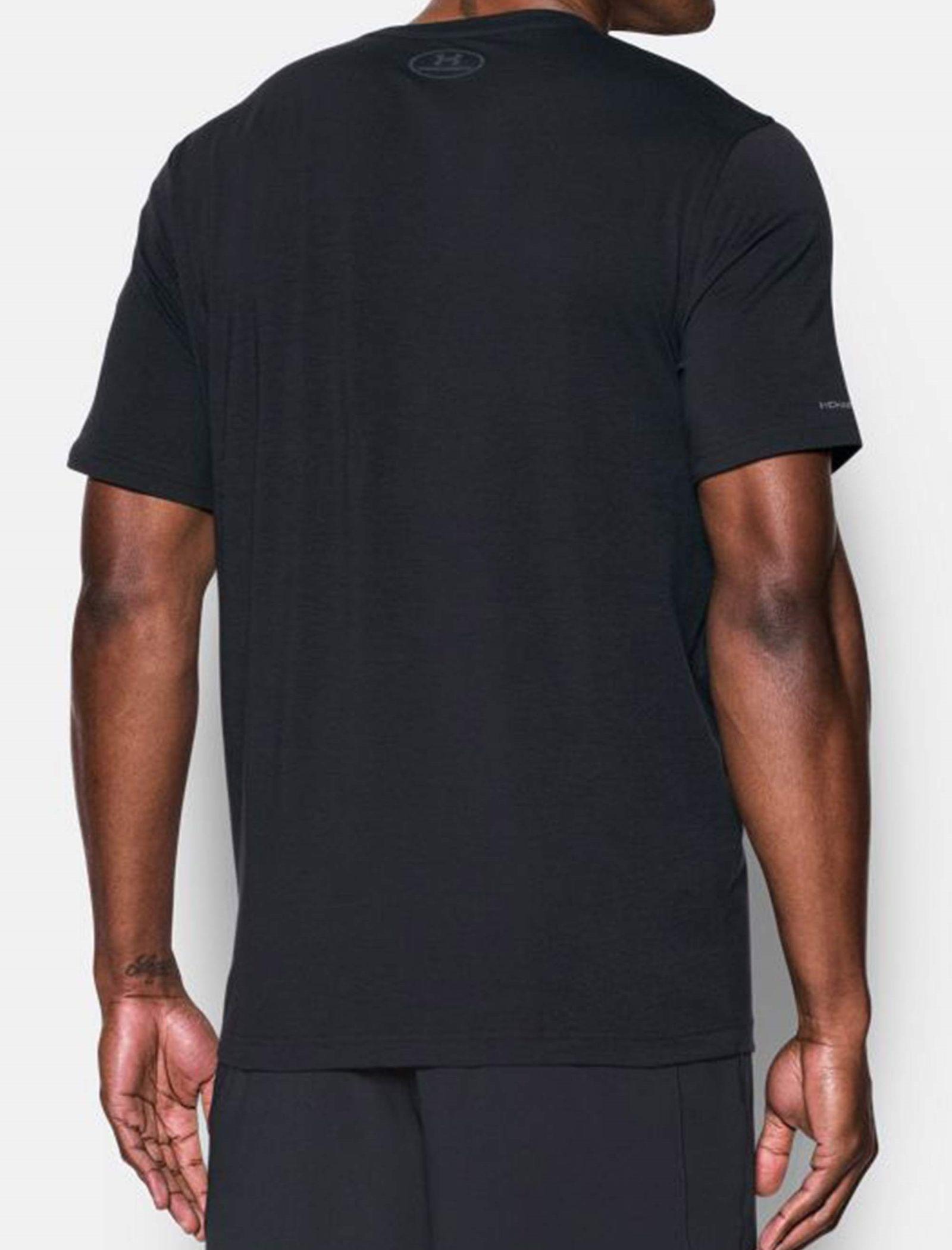 تی شرت نخی یقه گرد مردانه - آندر آرمور - طوسي و مشکي - 4