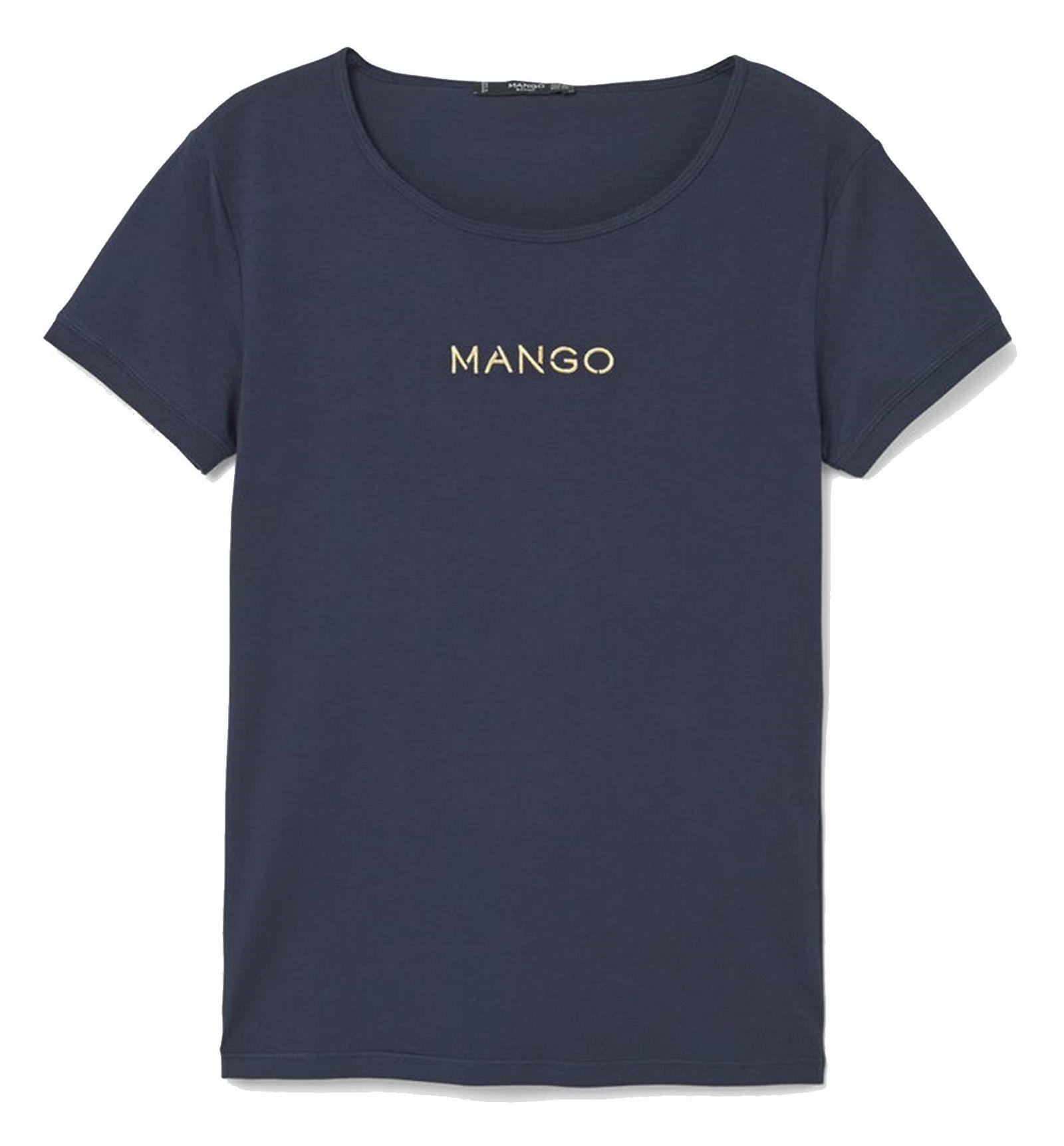 تی شرت نخی یقه گرد زنانه - مانگو - سرمه اي - 1