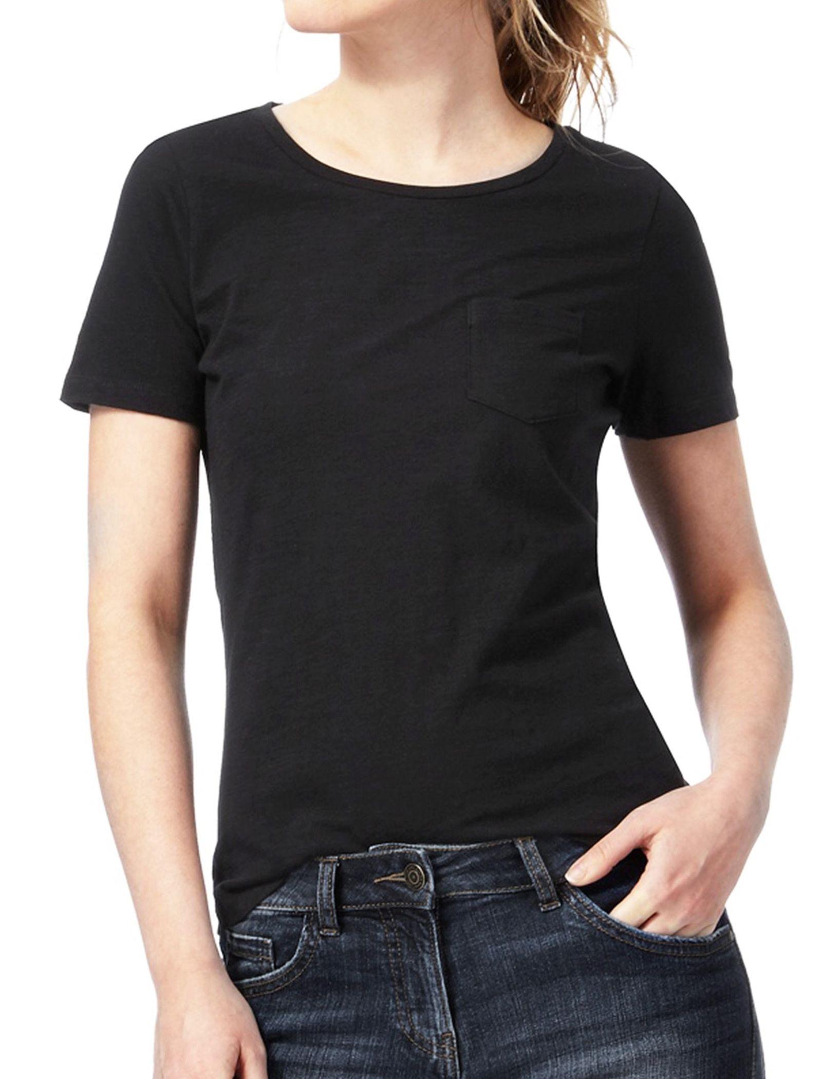 تی شرت نخی یقه گرد زنانه - کالکشن - مشکي - 1