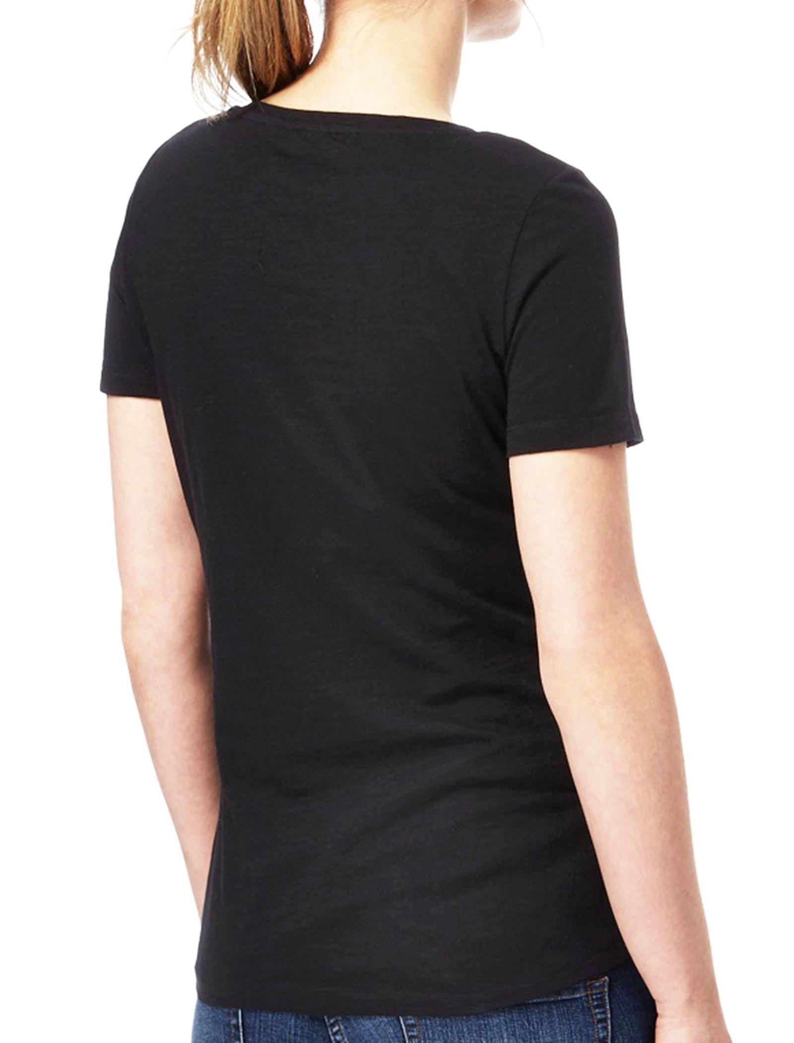 تی شرت نخی یقه گرد زنانه - کالکشن - مشکي - 2