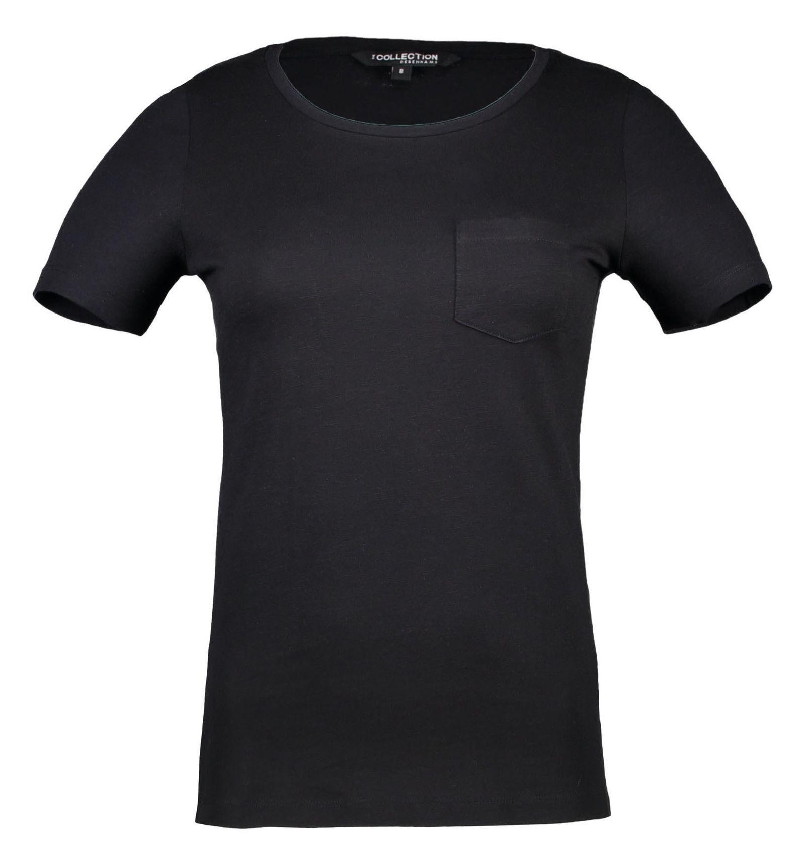 تی شرت نخی یقه گرد زنانه - کالکشن - مشکي - 3