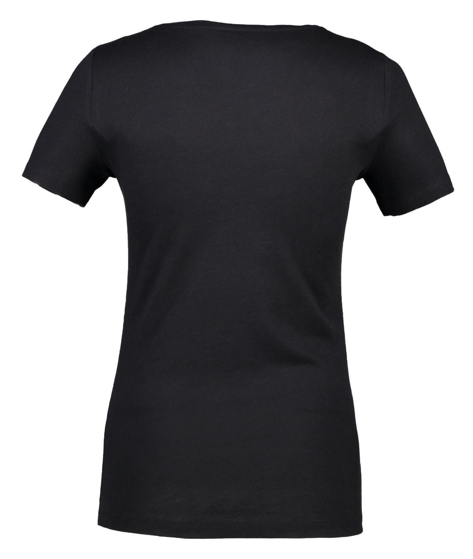 تی شرت نخی یقه گرد زنانه - کالکشن - مشکي - 4