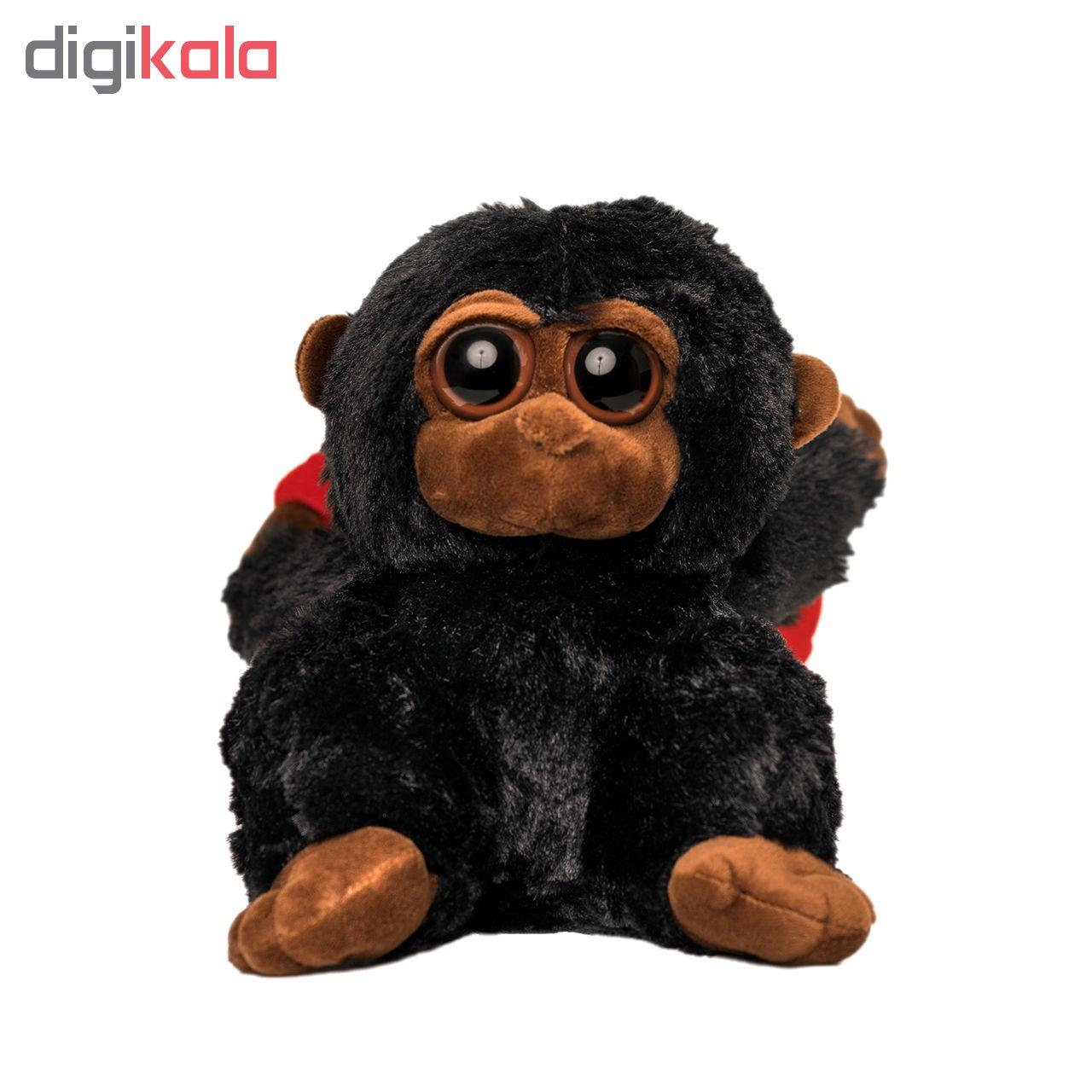 عروسک طرح میمون با قلب کد m90 ارتفاع ١٨ سانتي متر