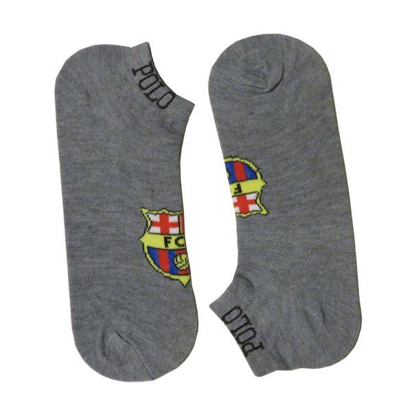 جوراب مردانه طرح بارسلونا کد 110 رنگ طوسی