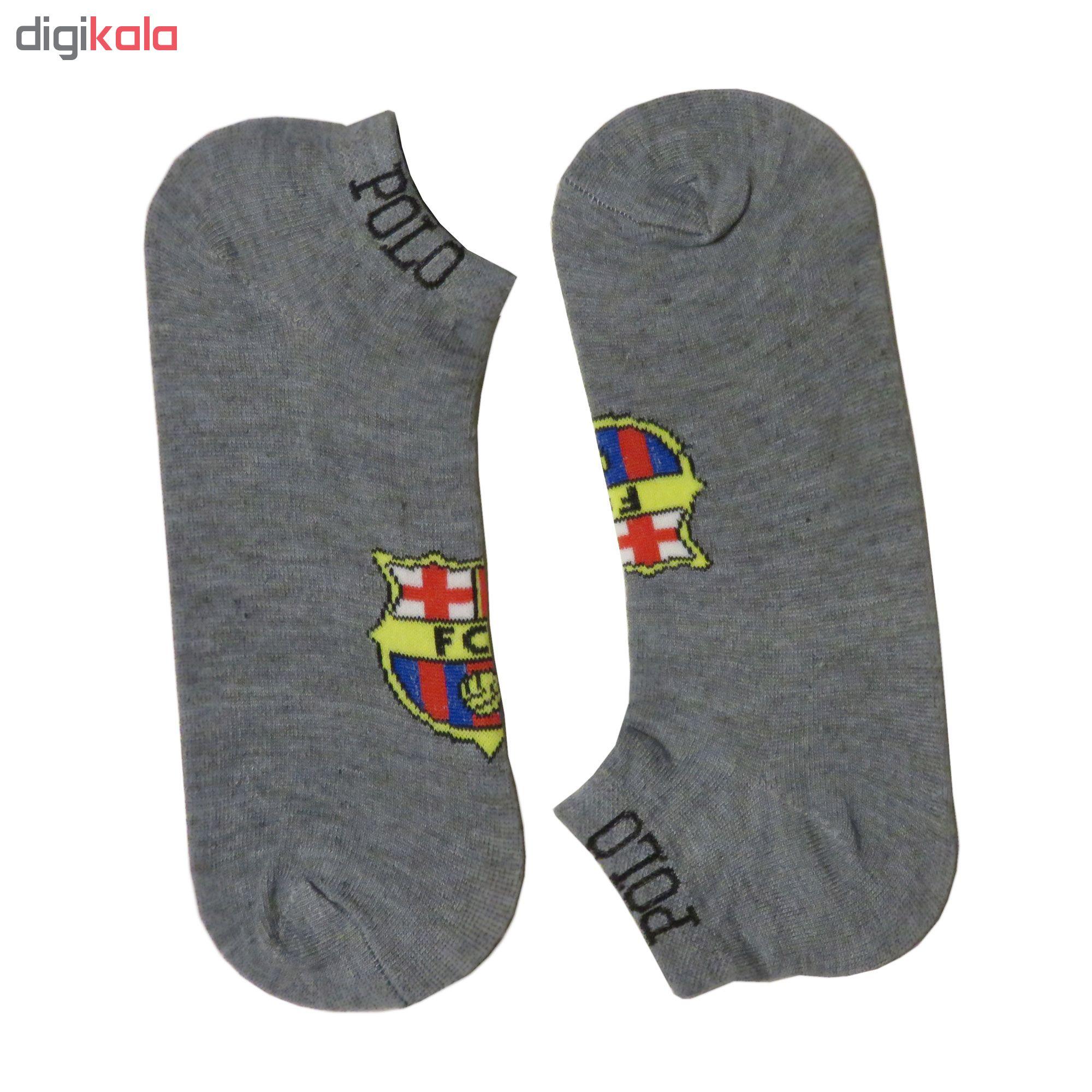 جوراب مردانه طرح بارسلونا کد 110 رنگ طوسی main 1 1