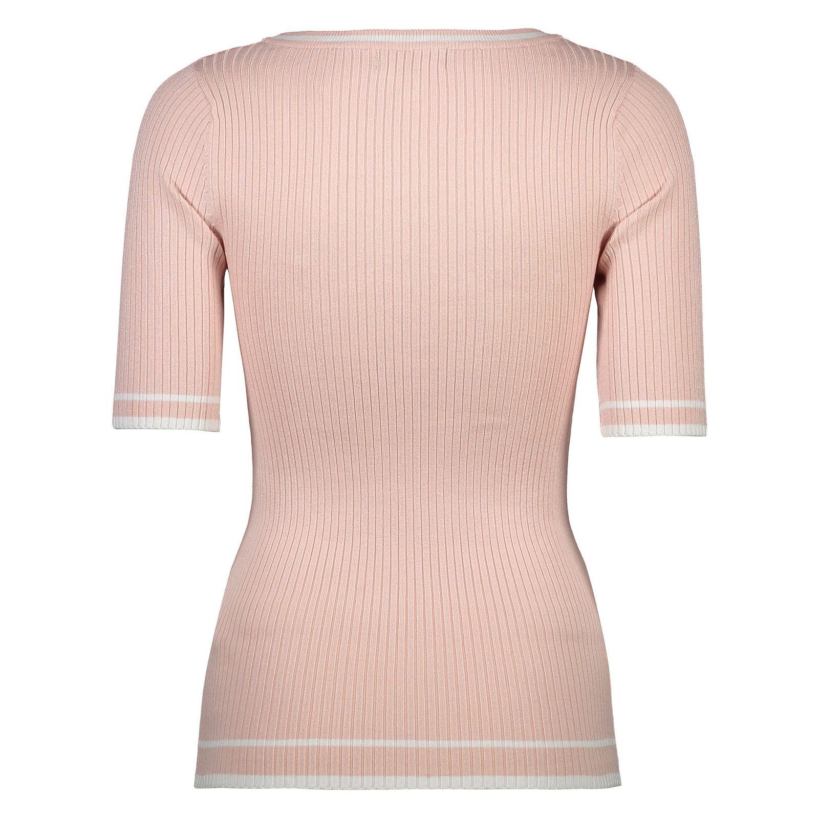 تی شرت ویسکوز یقه گرد زنانه - کالکشن - کرم صورتي - 2
