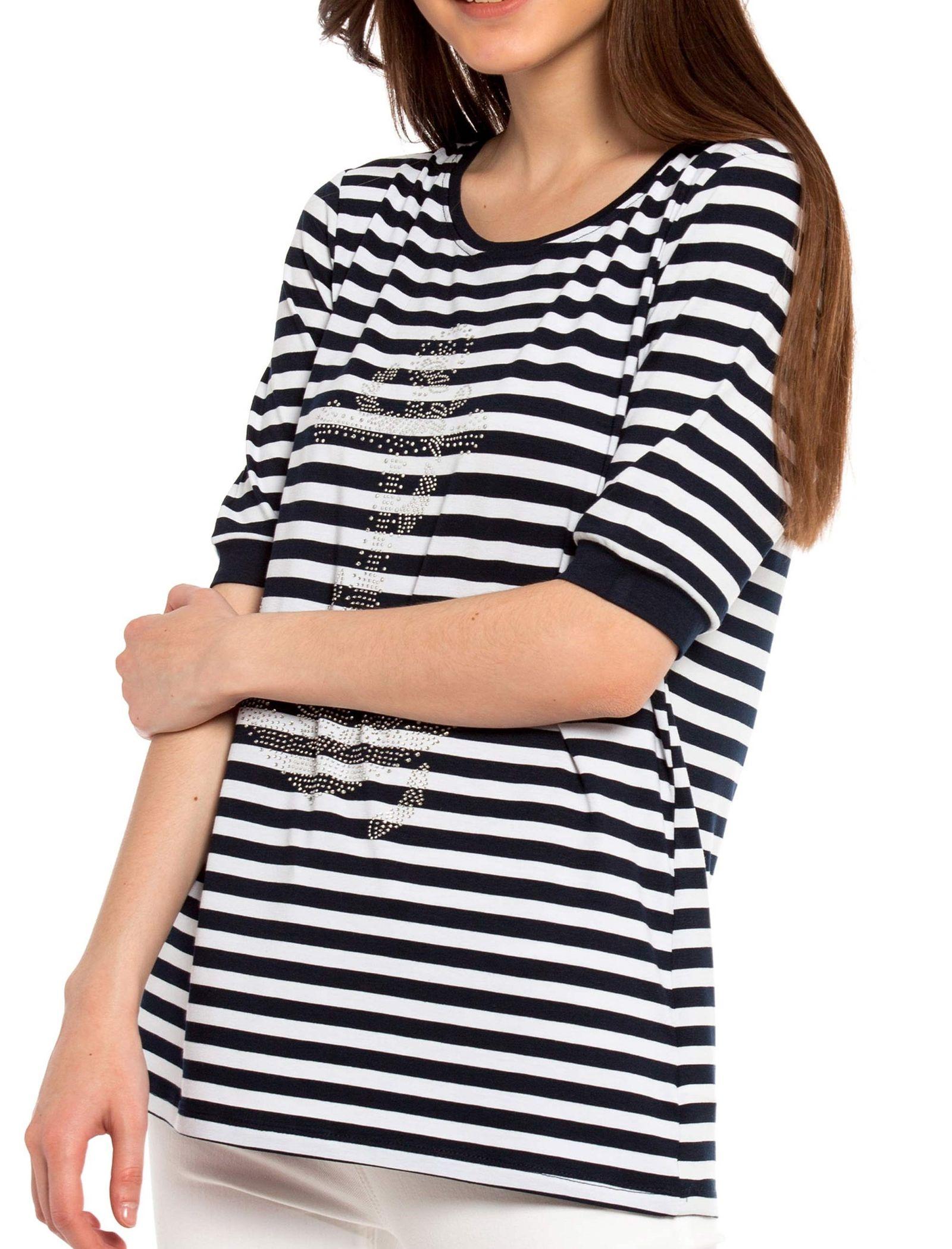 تی شرت ویسکوز یقه گرد زنانه - ال سی وایکیکی - سرمه اي و سفيد - 1