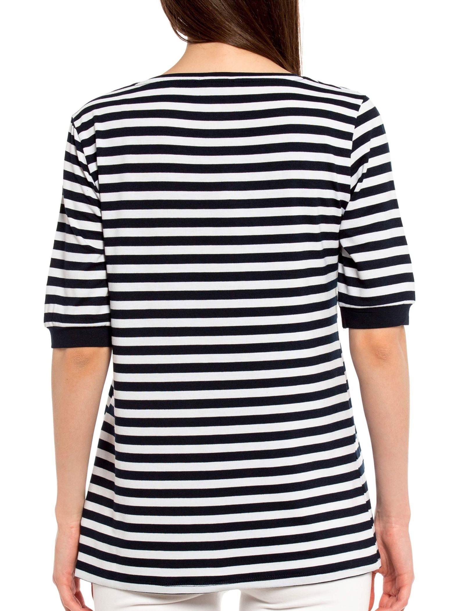 تی شرت ویسکوز یقه گرد زنانه - ال سی وایکیکی - سرمه اي و سفيد - 2