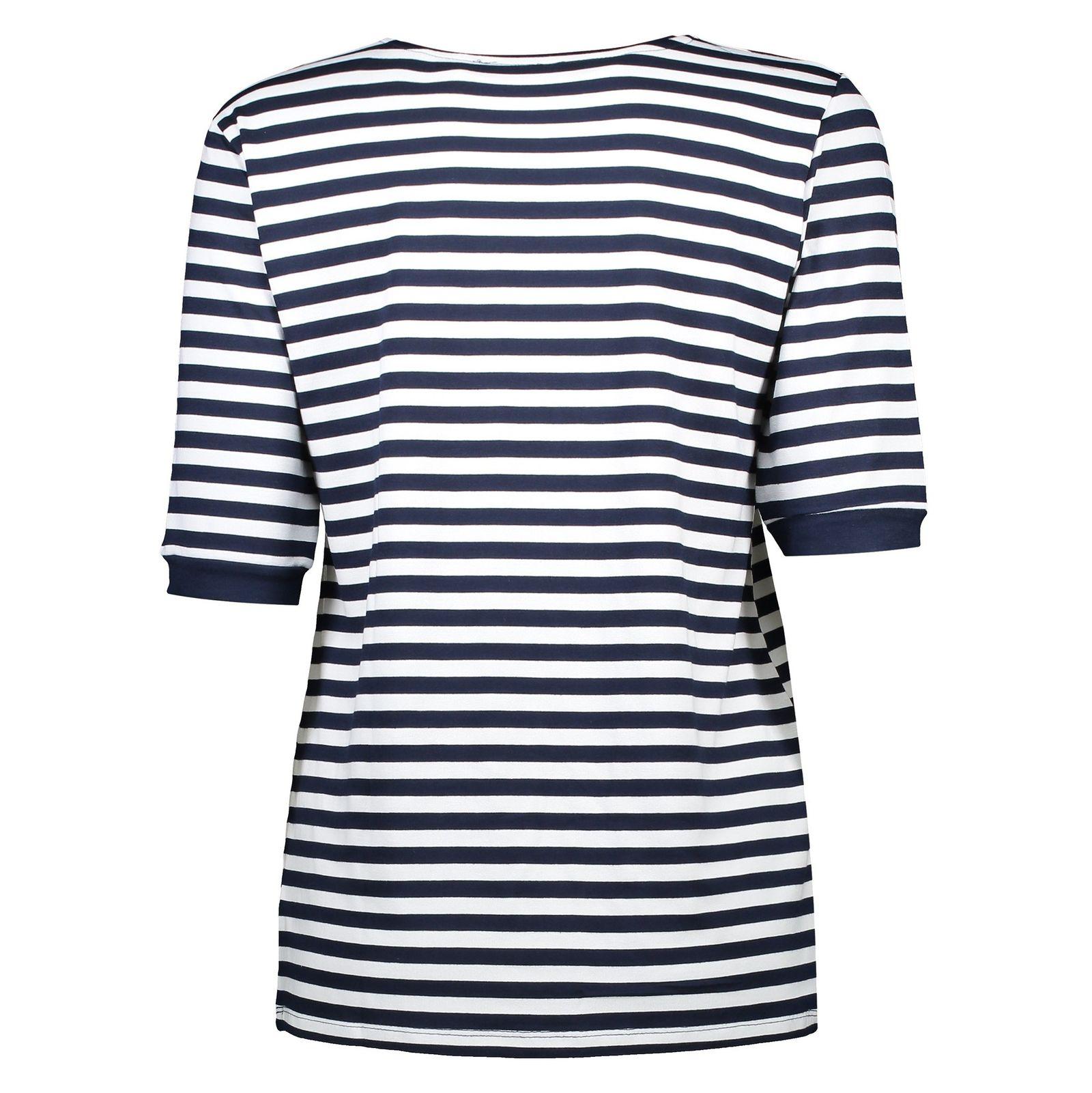 تی شرت ویسکوز یقه گرد زنانه - ال سی وایکیکی - سرمه اي و سفيد - 5