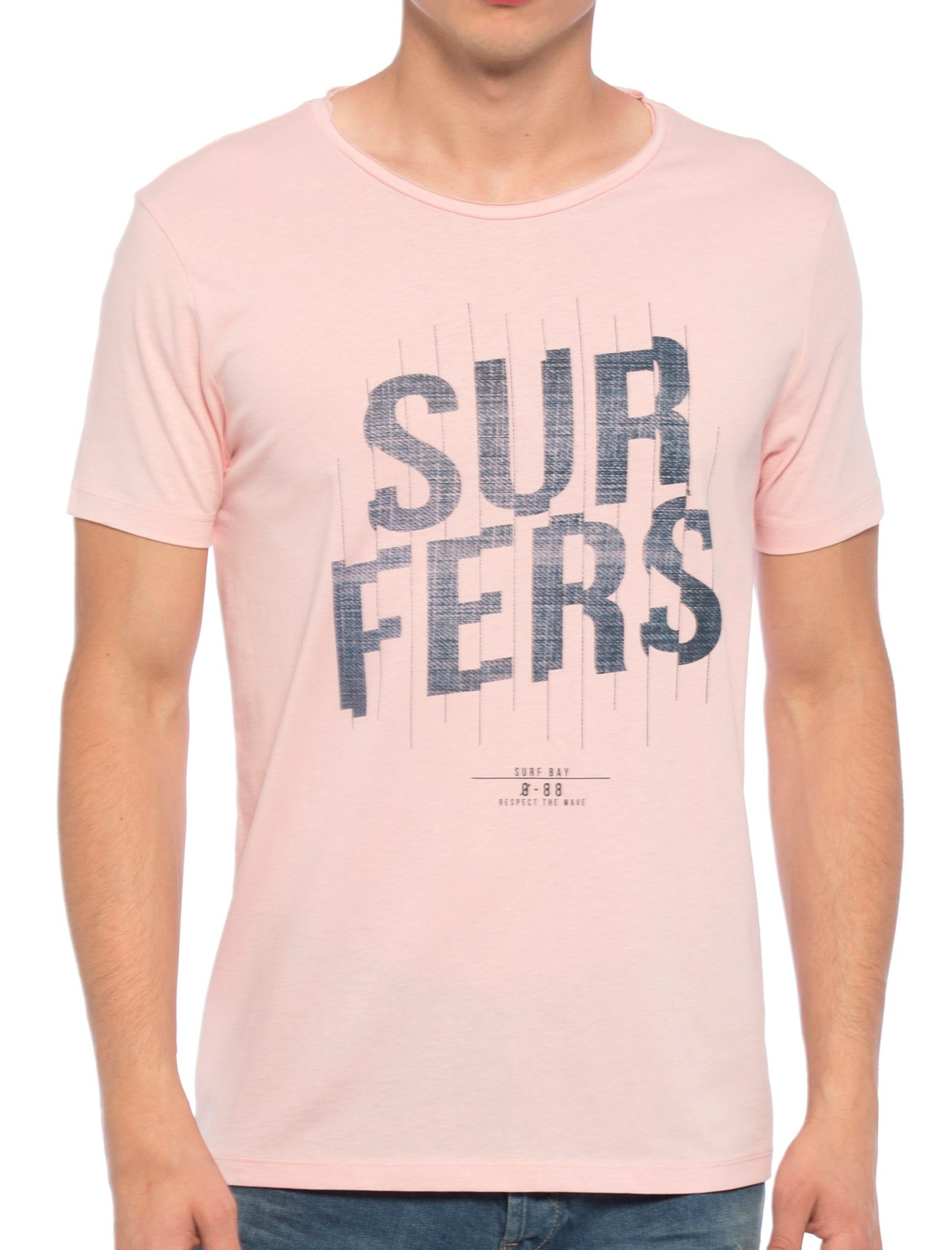 تی شرت نخی یقه گرد مردانه - ال سی وایکیکی - صورتي - 1