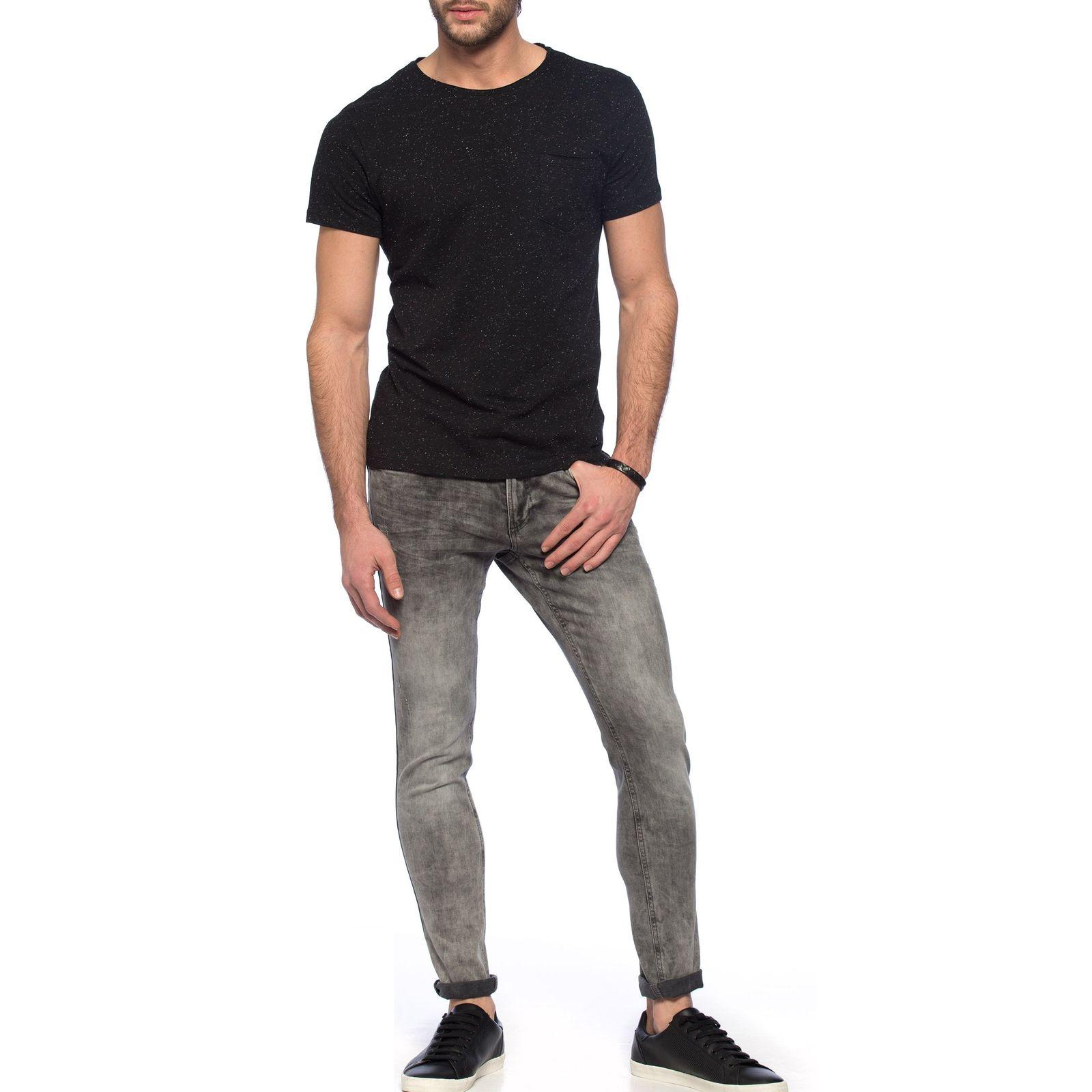 تی شرت نخی یقه گرد مردانه - ال سی وایکیکی - مشکي - 4