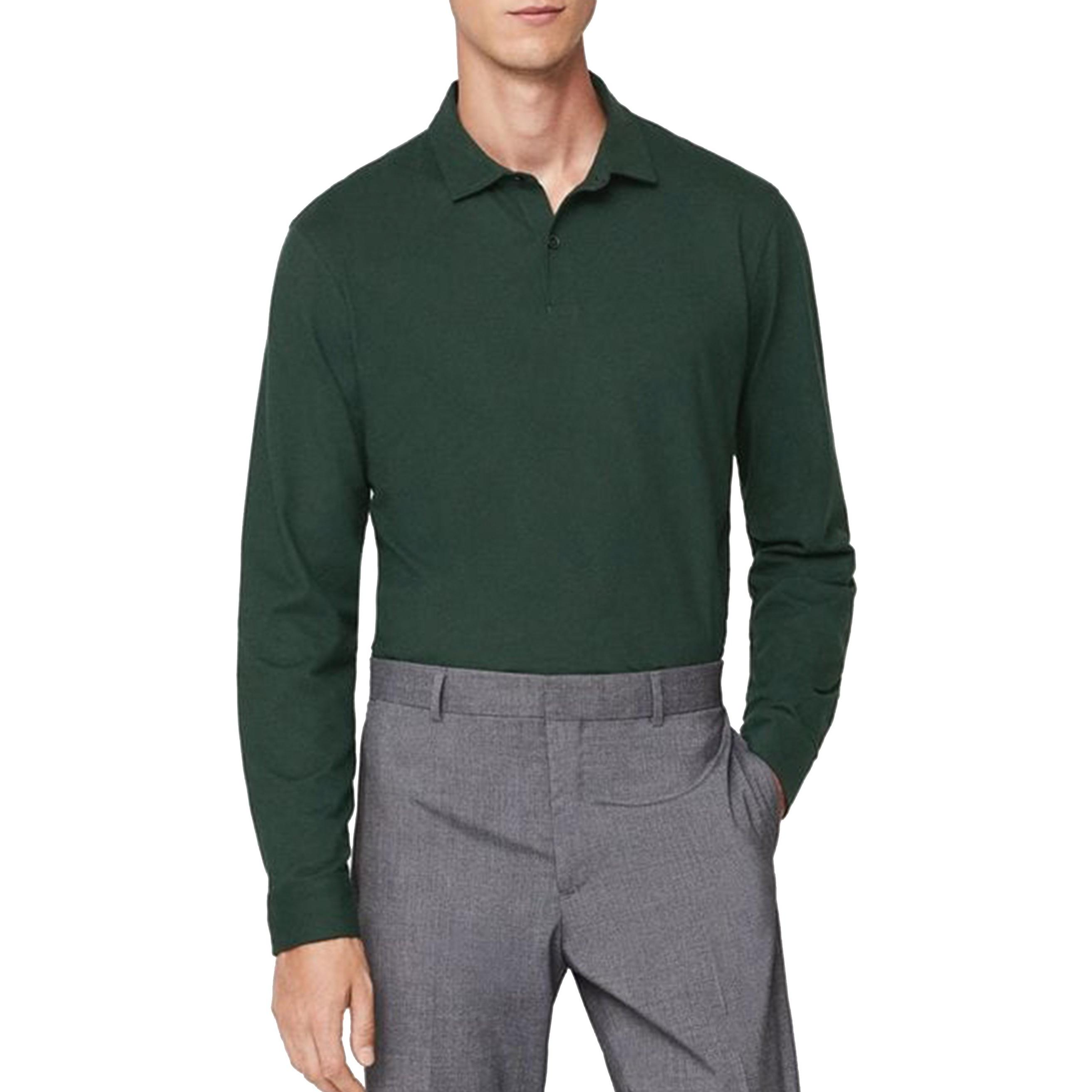 پولوشرت نخی آستین بلند مردانه - مانگو - سبز - 1