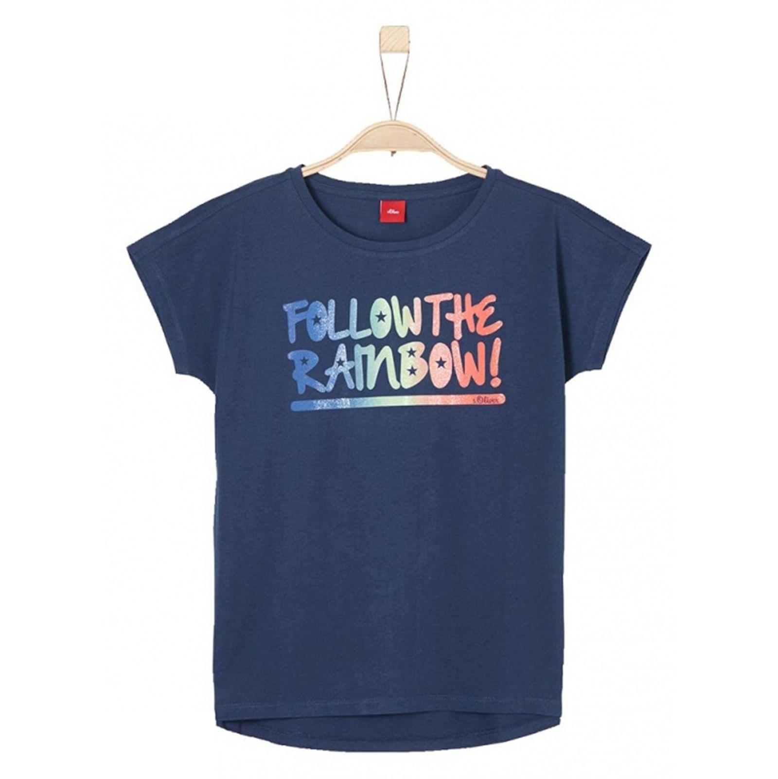 تی شرت نخی یقه گرد دخترانه - اس.اولیور - سرمه اي - 1