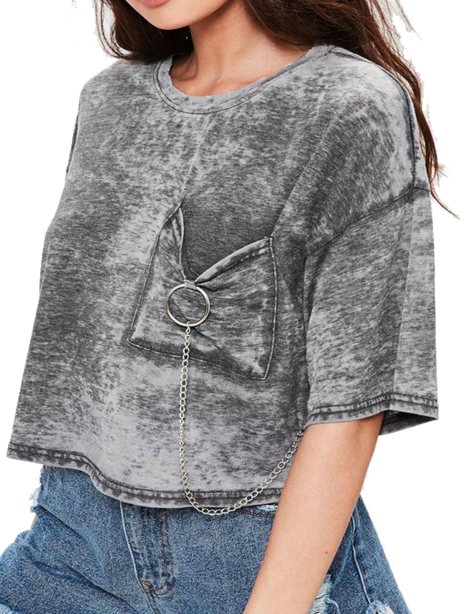 تی شرت یقه گرد زنانه - میسگایدد - طوسي - 1