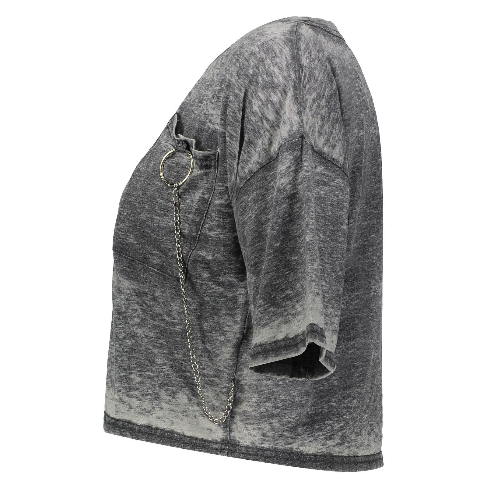 تی شرت یقه گرد زنانه - میسگایدد - طوسي - 3