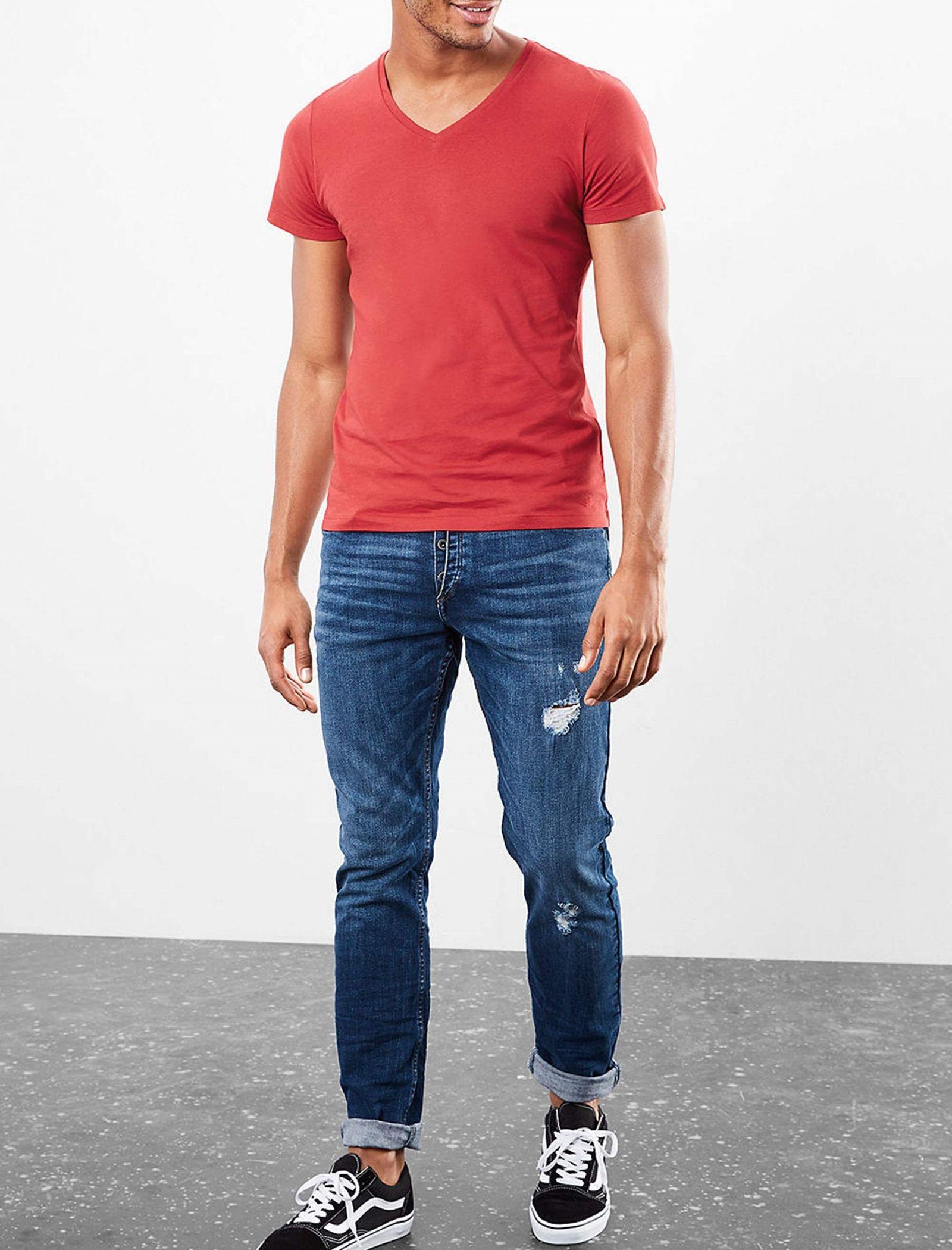 تی شرت نخی یقه هفت مردانه - اس.اولیور - قرمز - 4