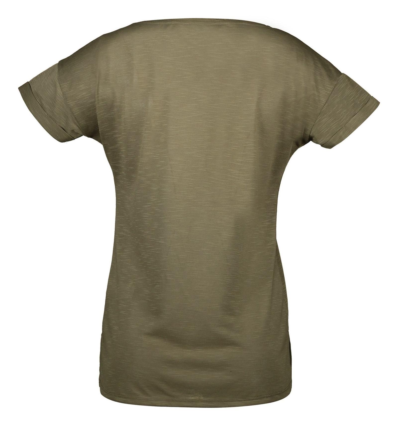 تی شرت یقه گرد زنانه - ال سی وایکیکی - زيتوني - 2
