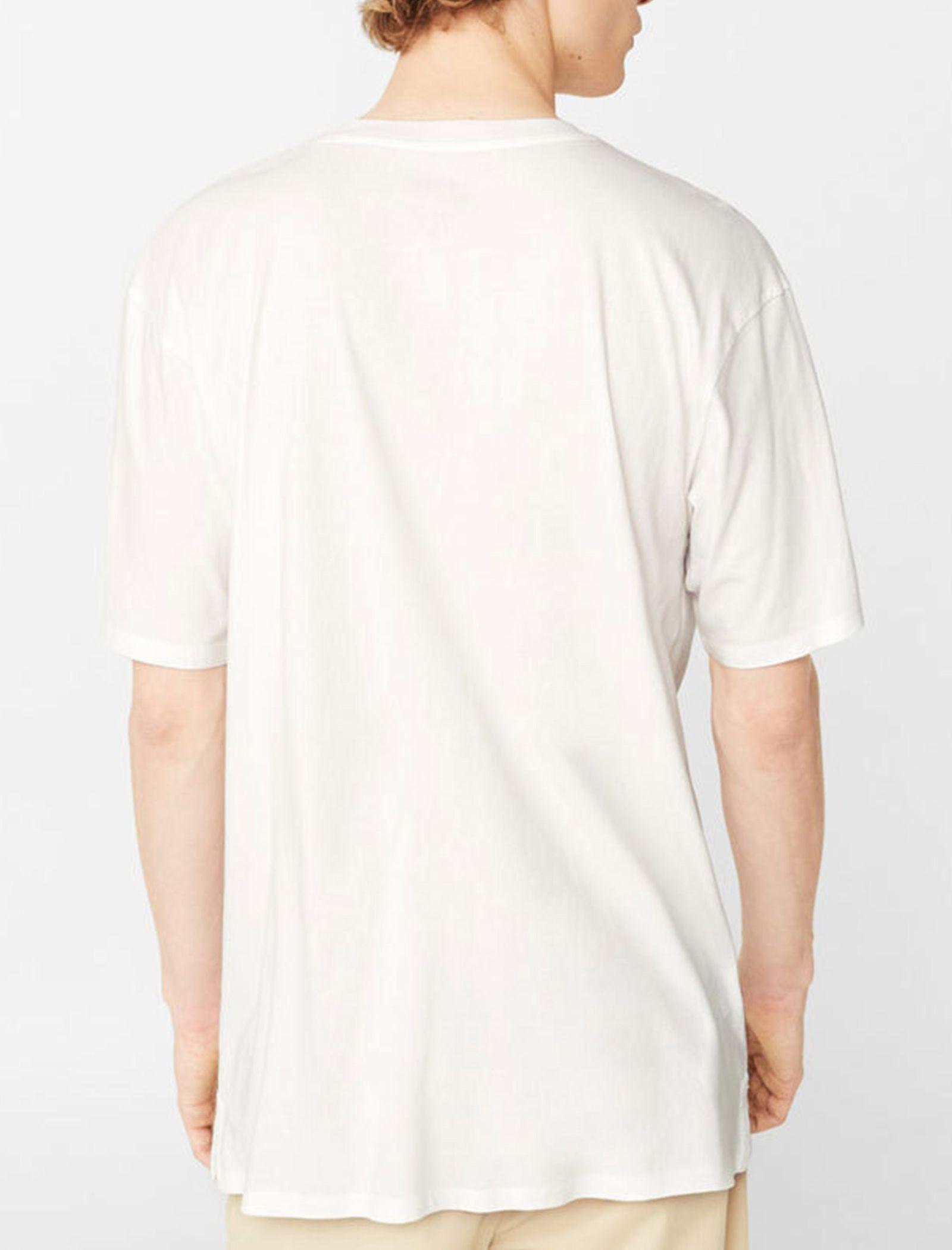 تی شرت نخی یقه گرد مردانه - مانگو - سفيد - 2