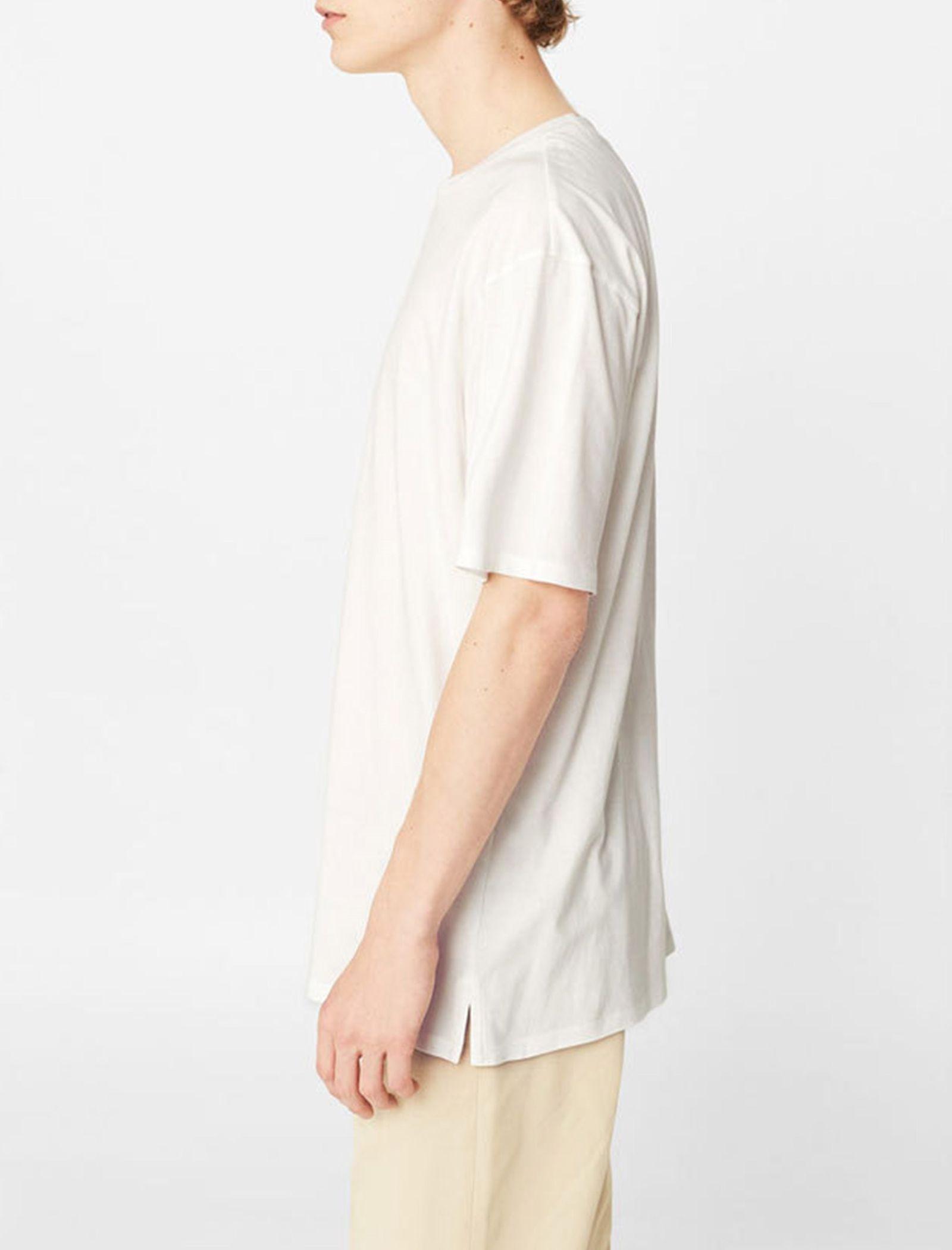 تی شرت نخی یقه گرد مردانه - مانگو - سفيد - 3