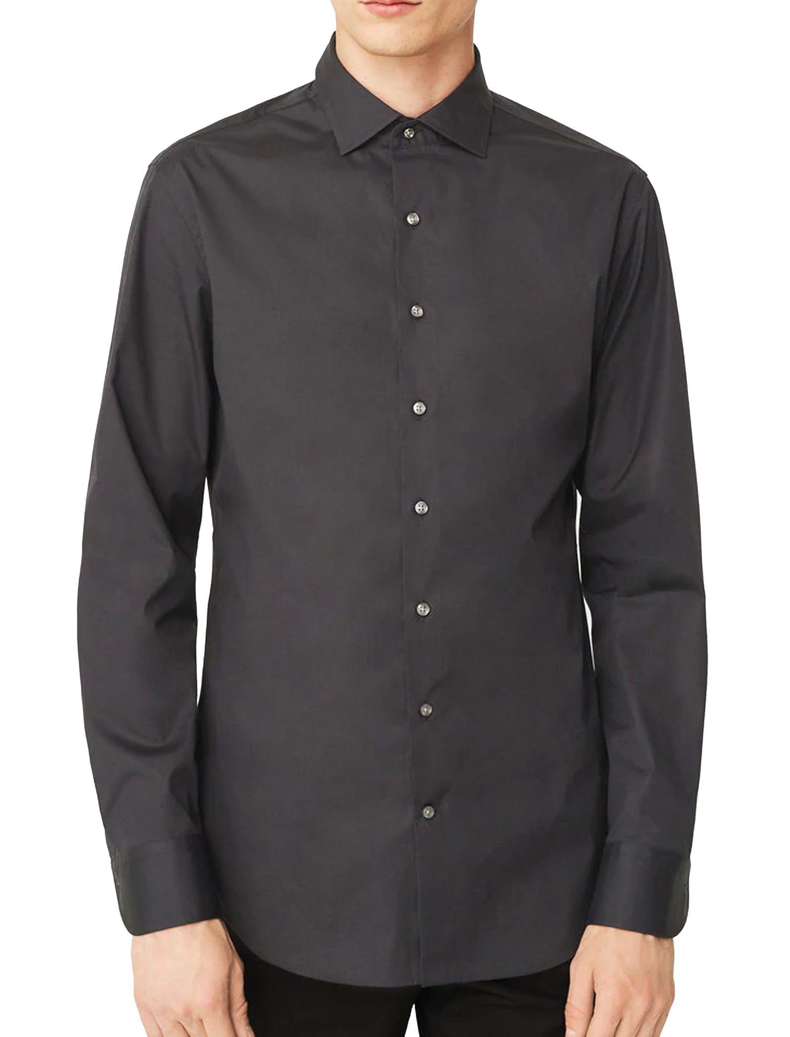 پیراهن نخی آستین بلند مردانه - مانگو - مشکي - 1