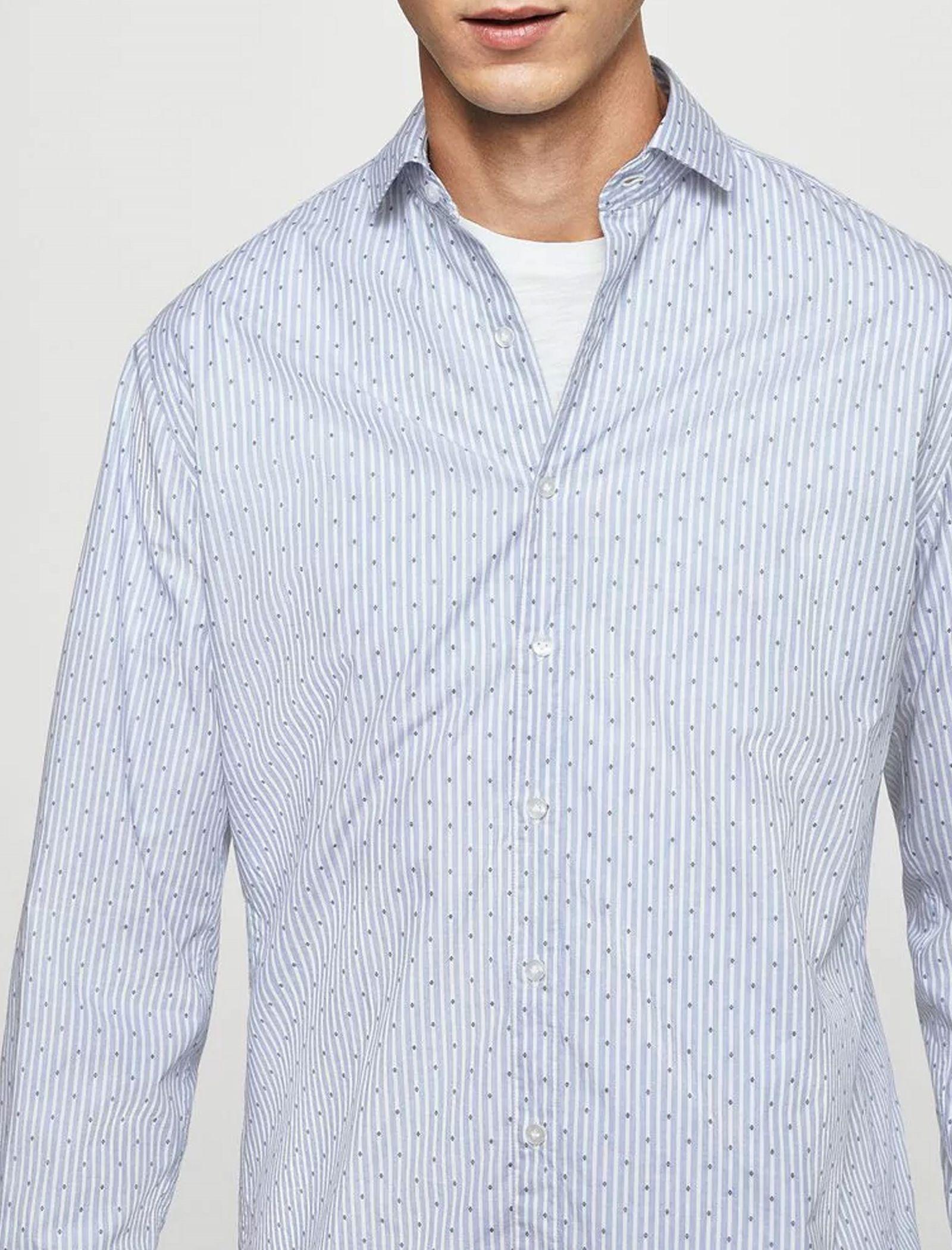 پیراهن نخی آستین بلند مردانه - مانگو - آبي آسماني - 2