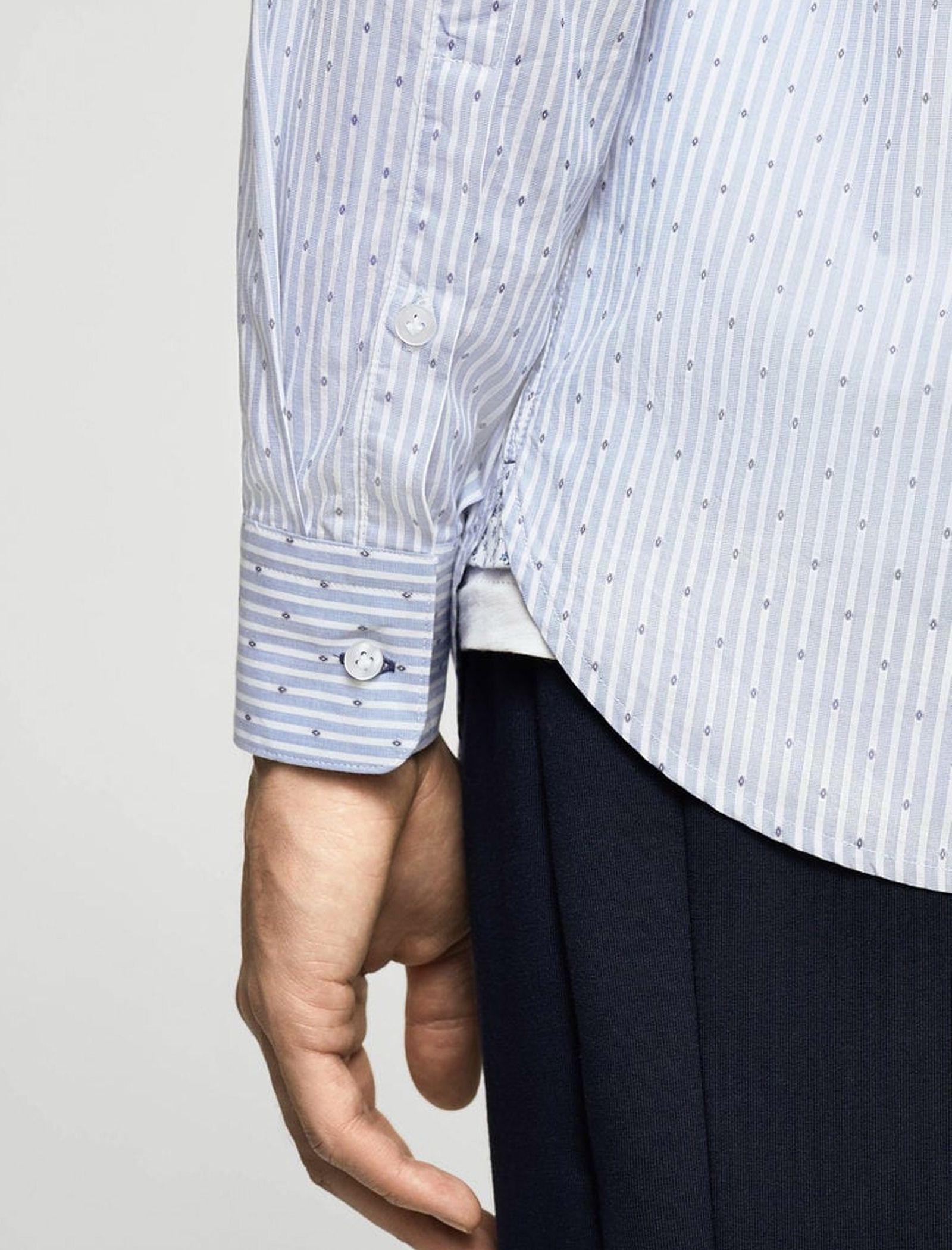 پیراهن نخی آستین بلند مردانه - مانگو - آبي آسماني - 3