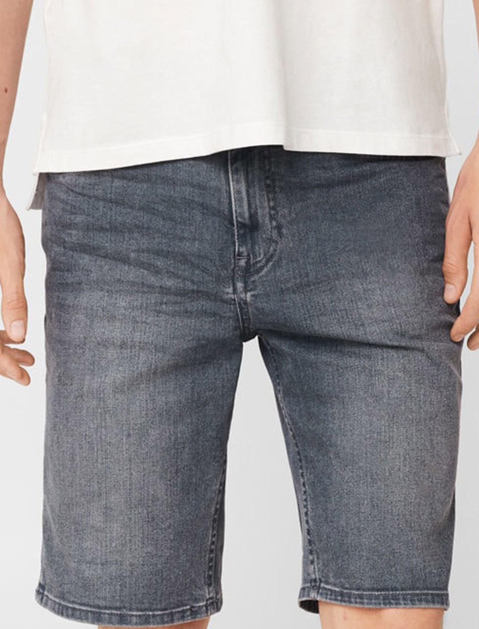 شلوارک جین مردانه - مانگو - طوسي - 2