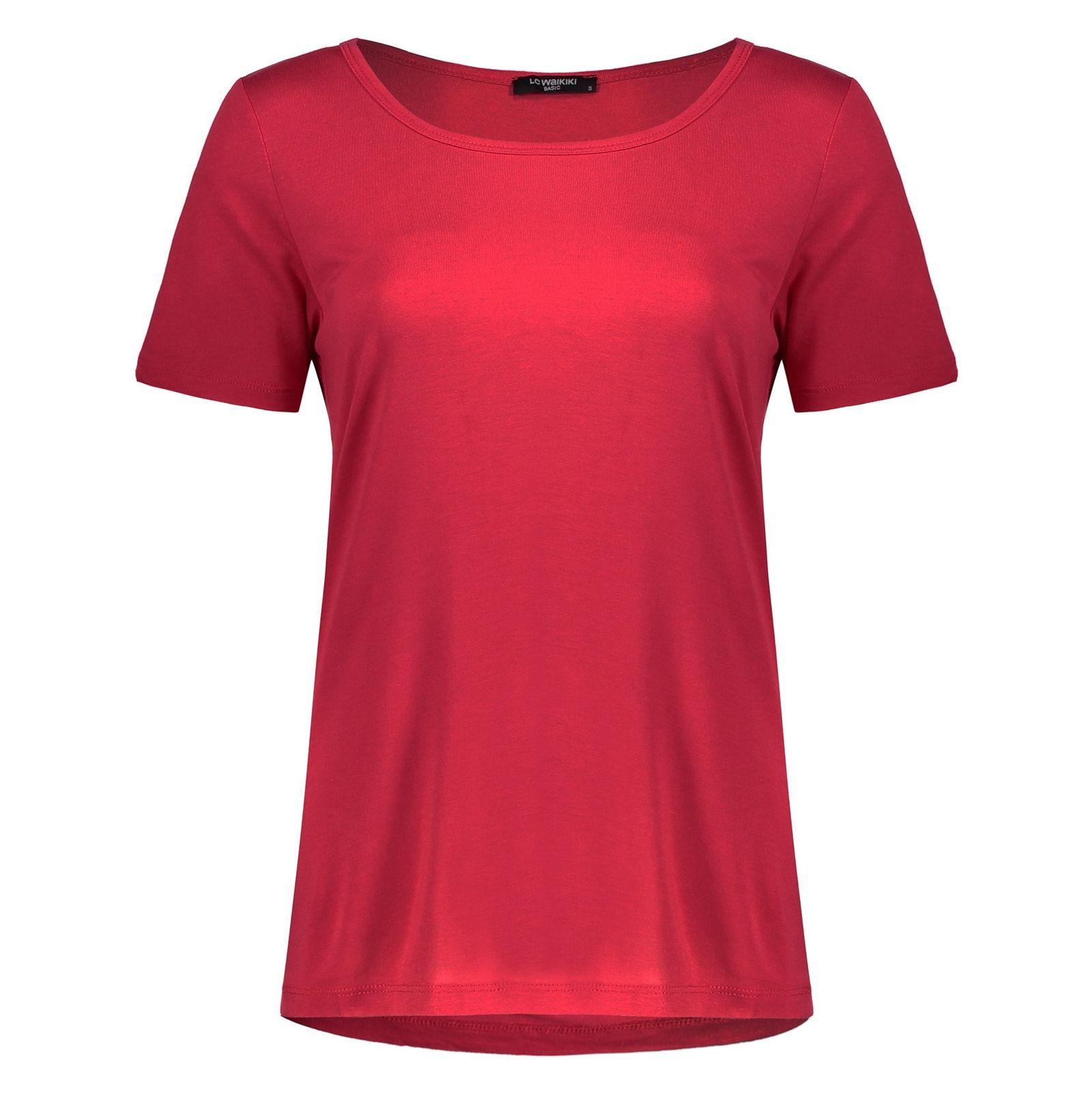 تی شرت ویسکوز یقه گرد زنانه - ال سی وایکیکی - قرمز - 1