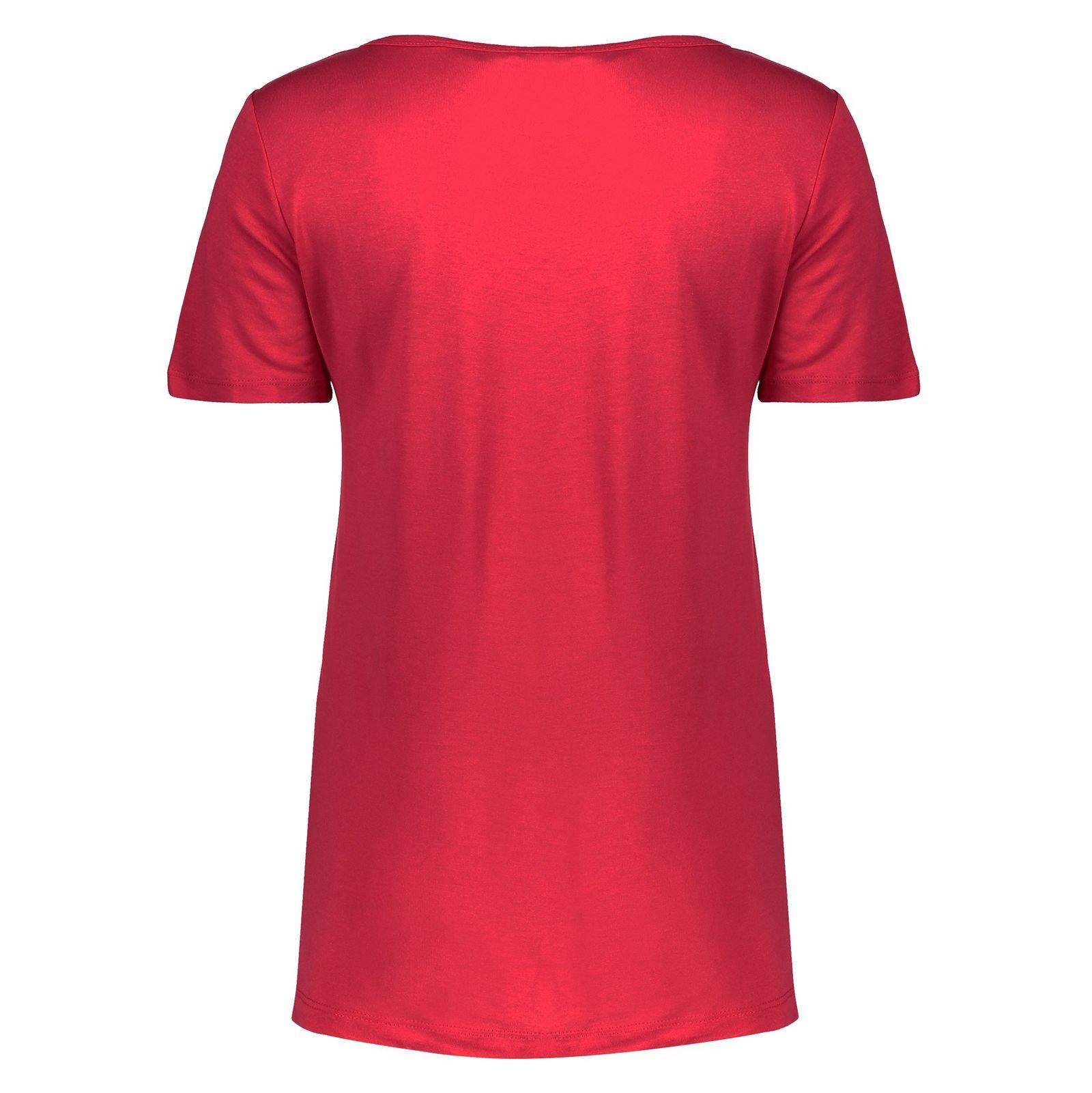 تی شرت ویسکوز یقه گرد زنانه - ال سی وایکیکی - قرمز - 2