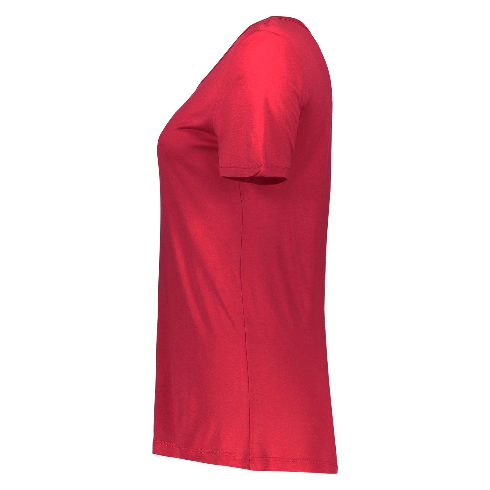 تی شرت ویسکوز یقه گرد زنانه - ال سی وایکیکی - قرمز - 4