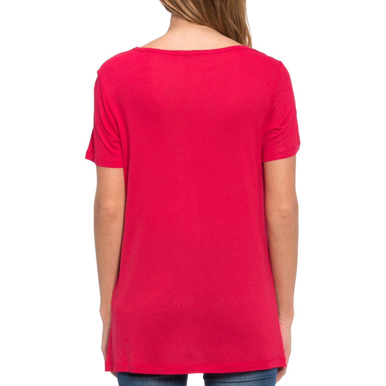 تی شرت ویسکوز یقه گرد زنانه - ال سی وایکیکی - قرمز - 5