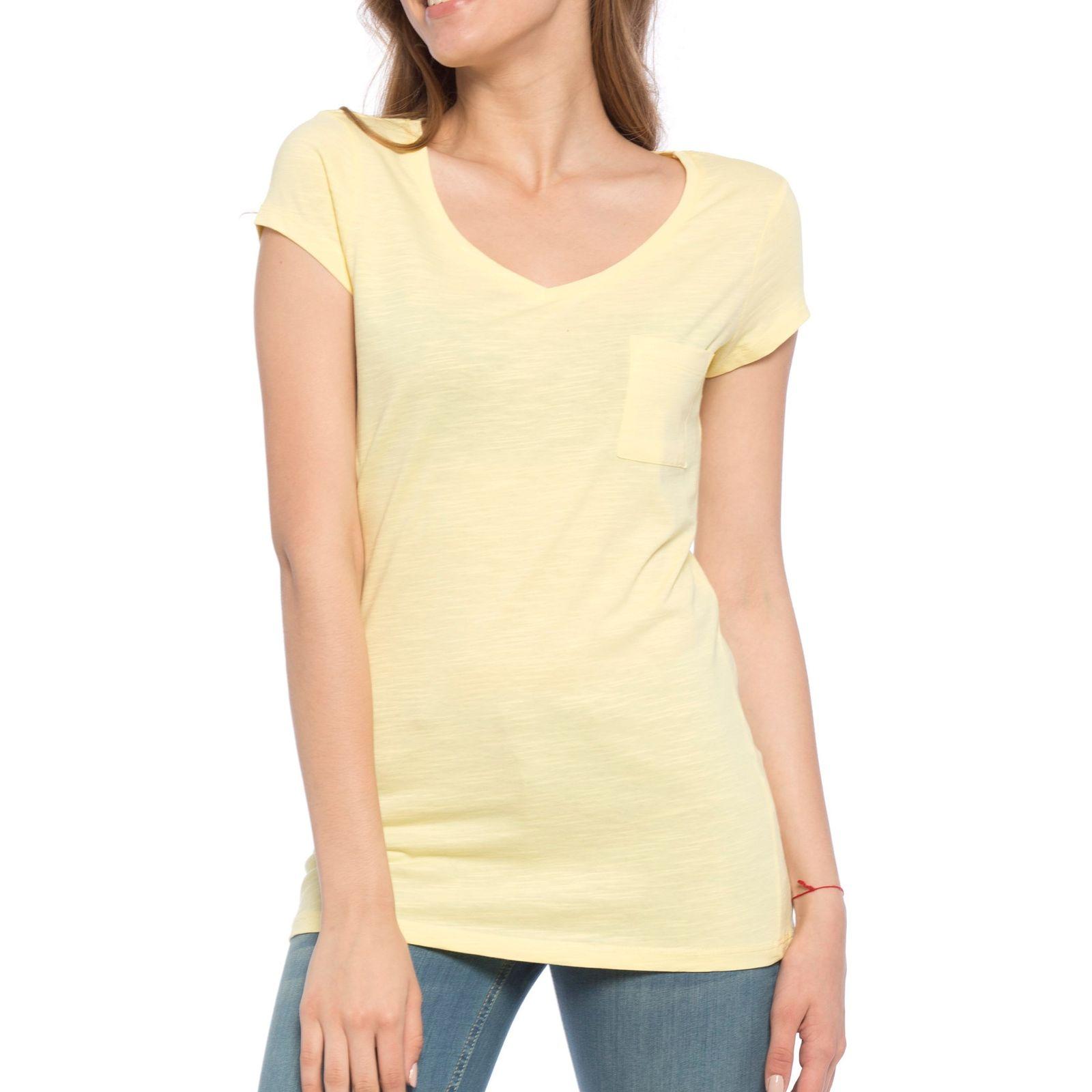 تی شرت نخی یقه هفت زنانه - ال سی وایکیکی - زرد - 1