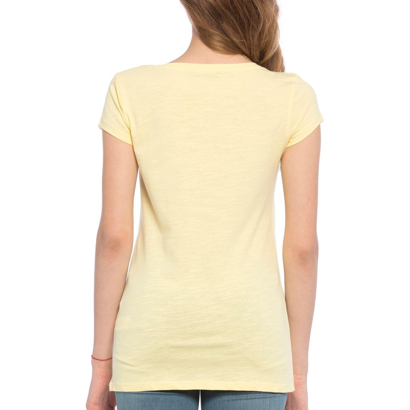 تی شرت نخی یقه هفت زنانه - ال سی وایکیکی - زرد - 2