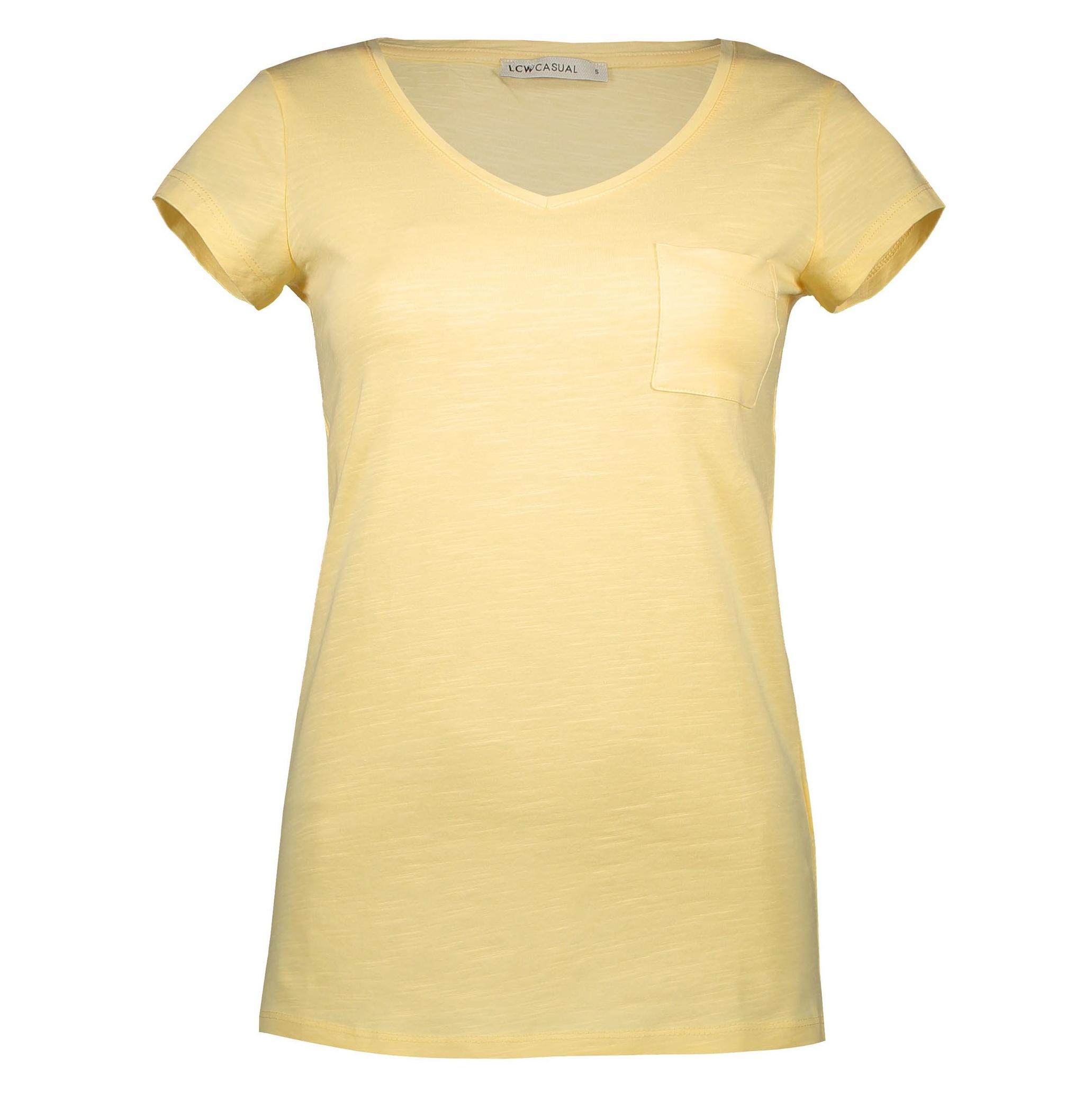 تی شرت نخی یقه هفت زنانه - ال سی وایکیکی - زرد - 3