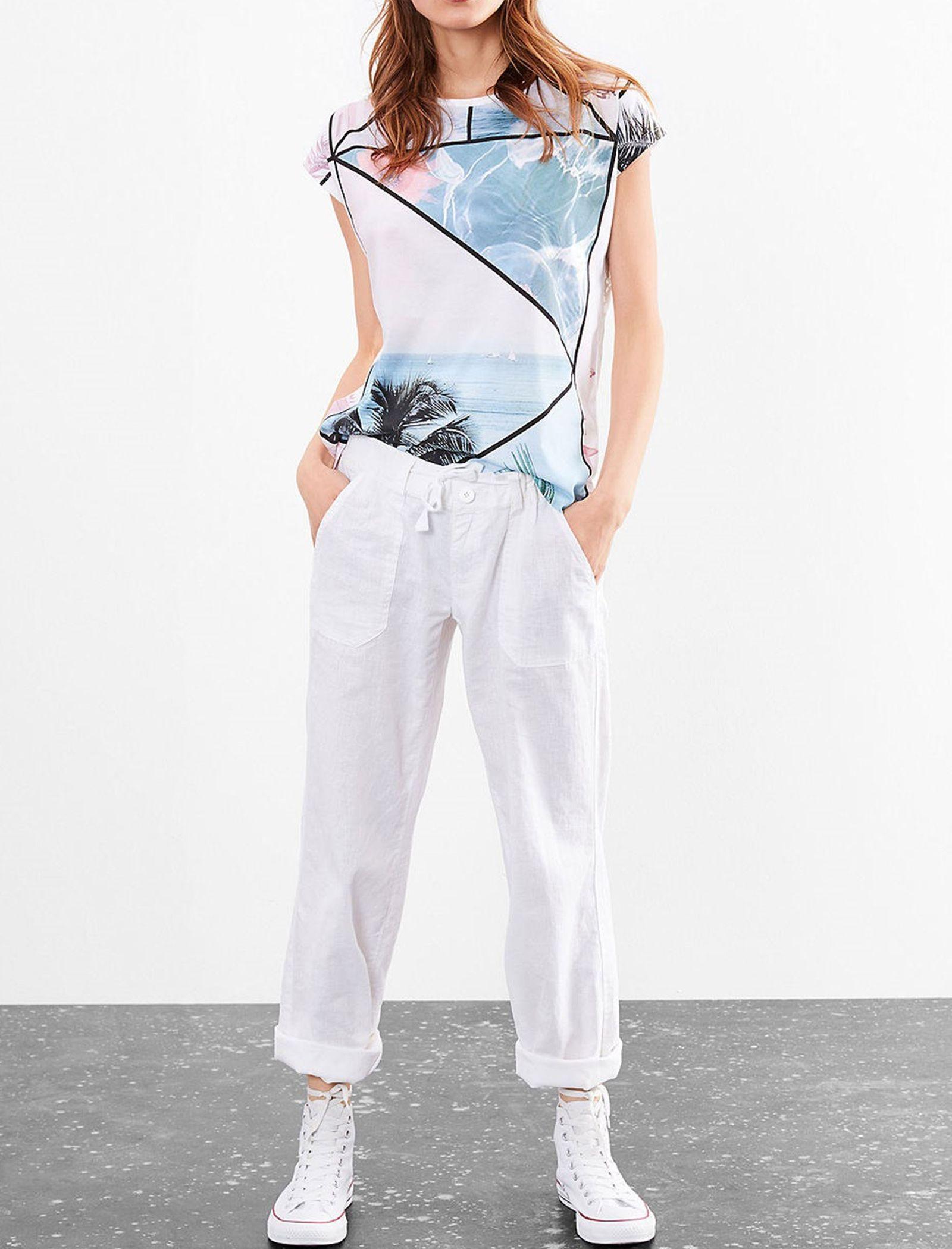 تی شرت نخی یقه گرد زنانه - اس.اولیور - سفيد - 2
