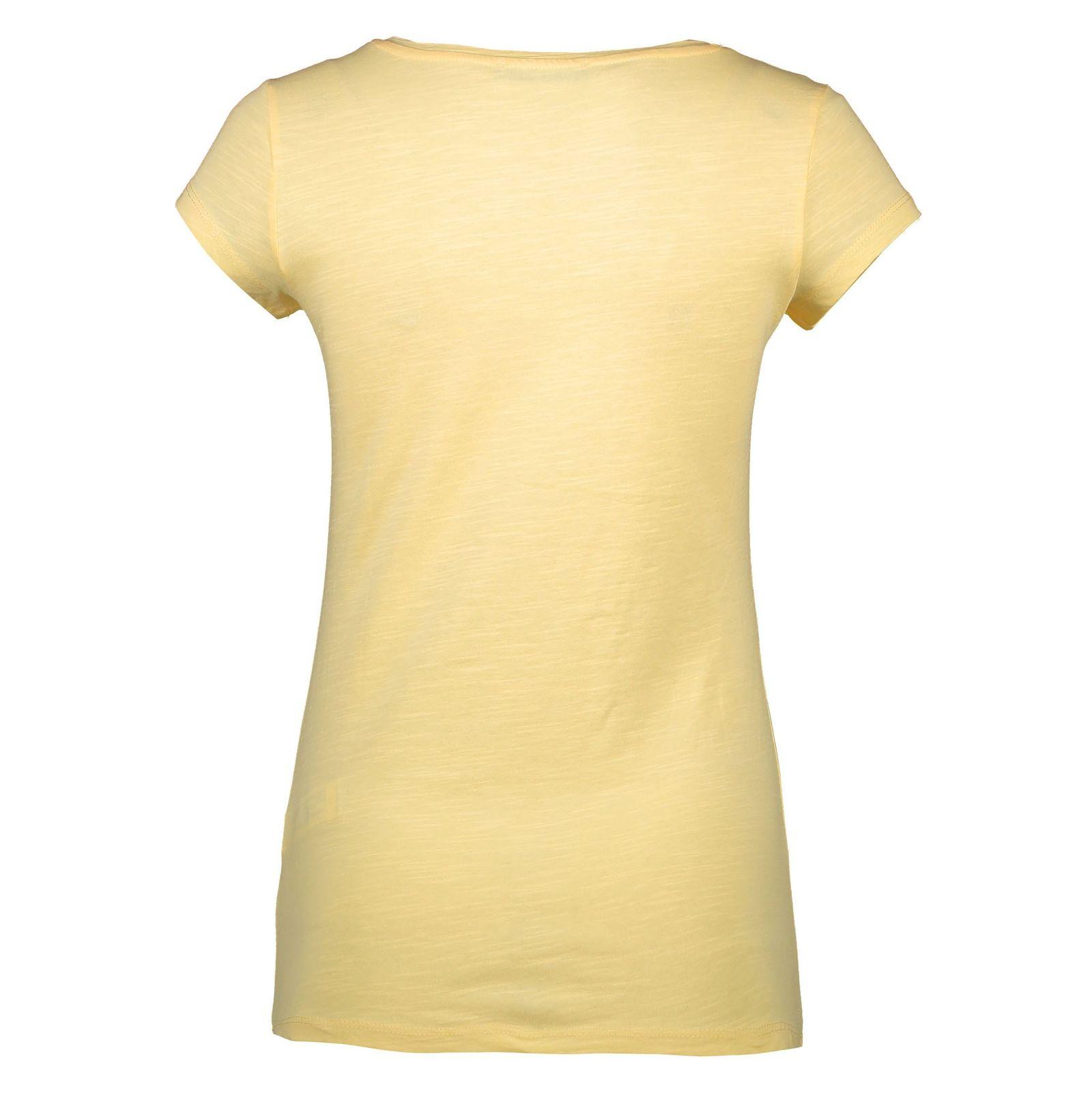 تی شرت نخی یقه هفت زنانه - ال سی وایکیکی - زرد - 4