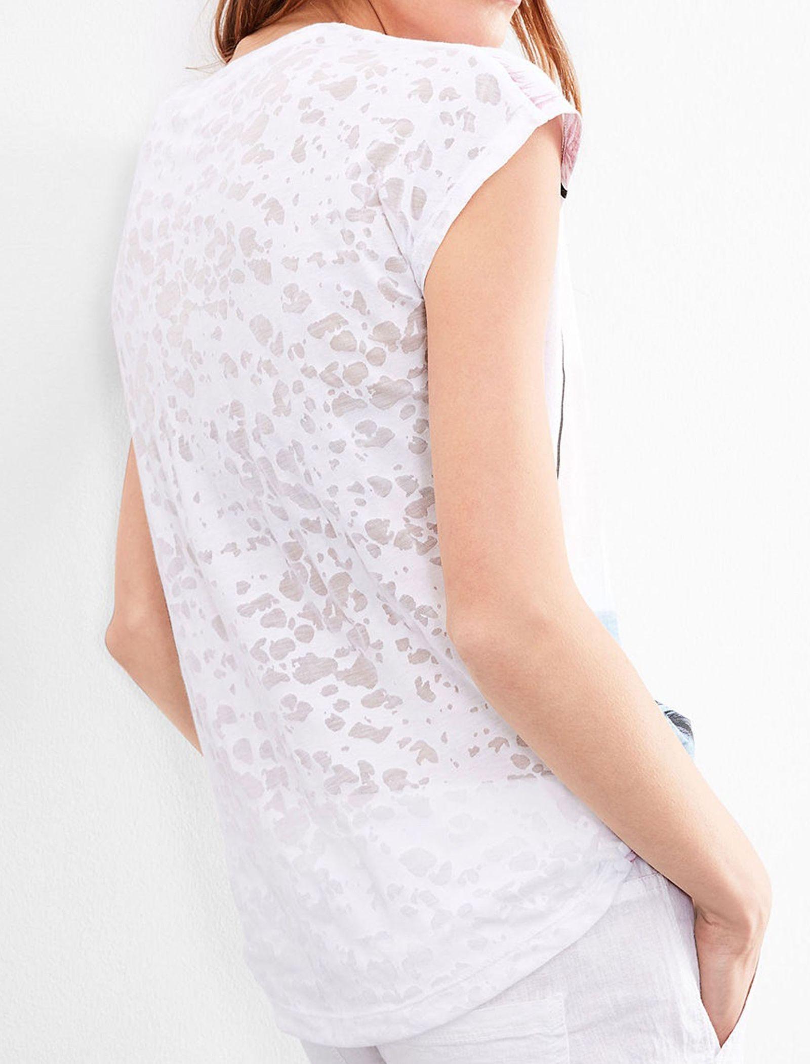 تی شرت نخی یقه گرد زنانه - اس.اولیور - سفيد - 3