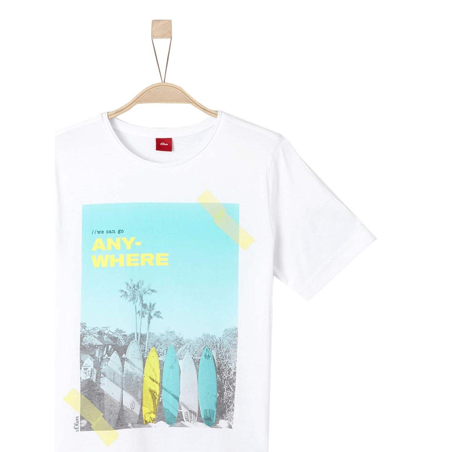 تی شرت نخی یقه گرد پسرانه - اس.اولیور - سفيد - 1