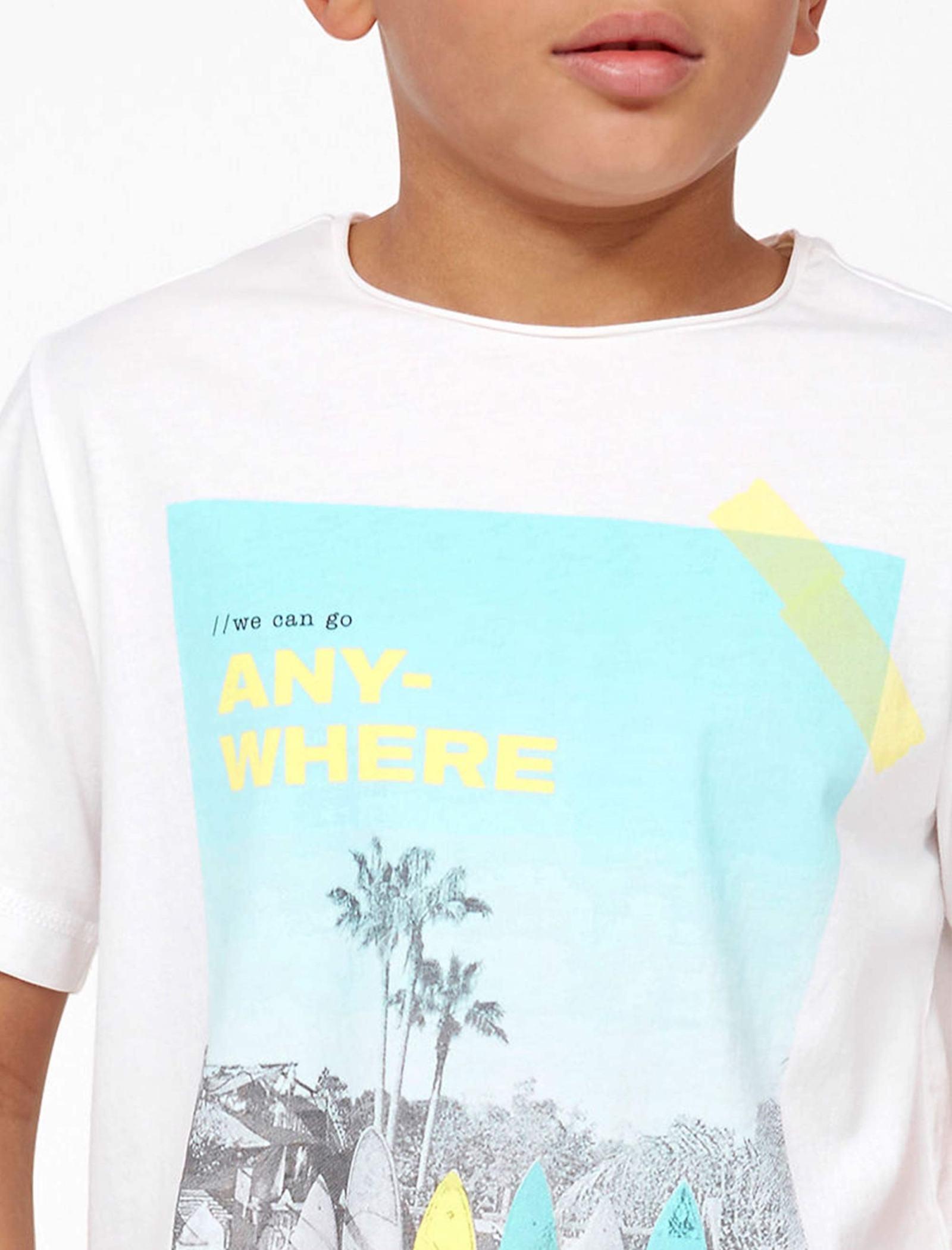 تی شرت نخی یقه گرد پسرانه - اس.اولیور - سفيد - 4