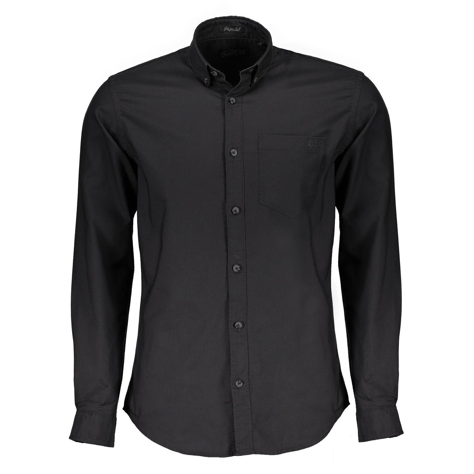 پیراهن نخی آستین بلند مردانه - جک اند جونز - زغالي - 1