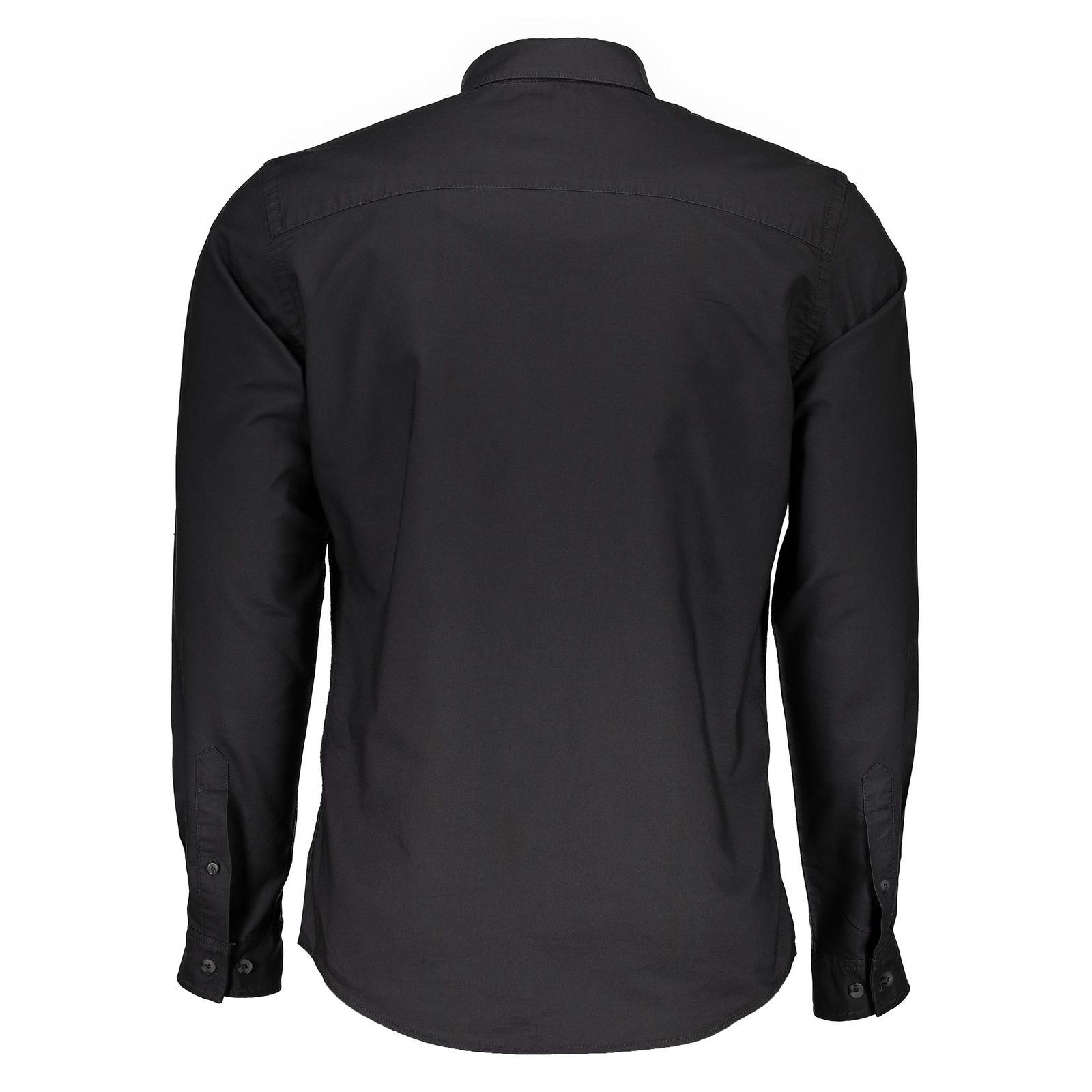 پیراهن نخی آستین بلند مردانه - جک اند جونز - زغالي - 2