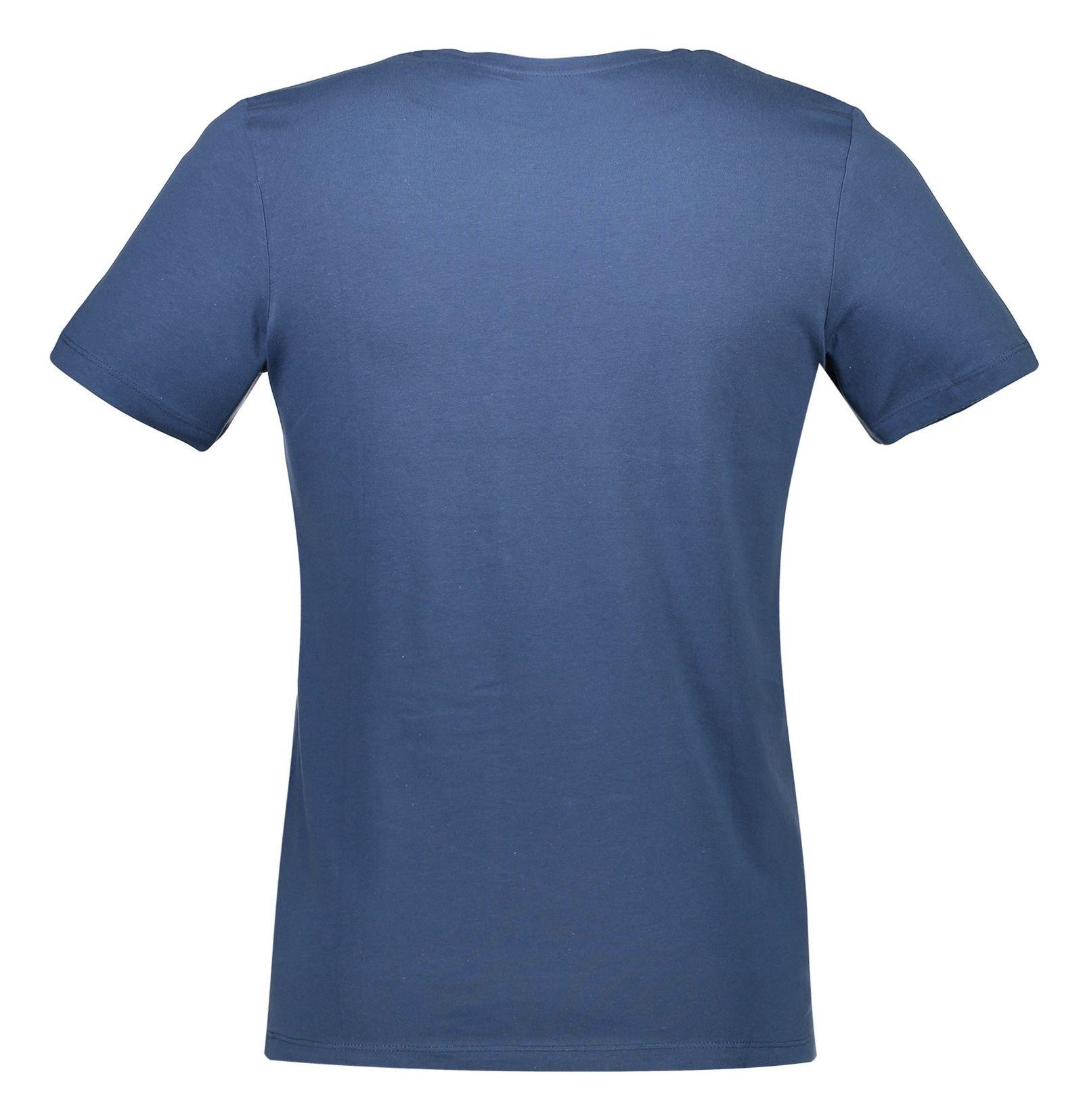 تی شرت نخی یقه گرد مردانه - جک اند جونز - آبي - 2