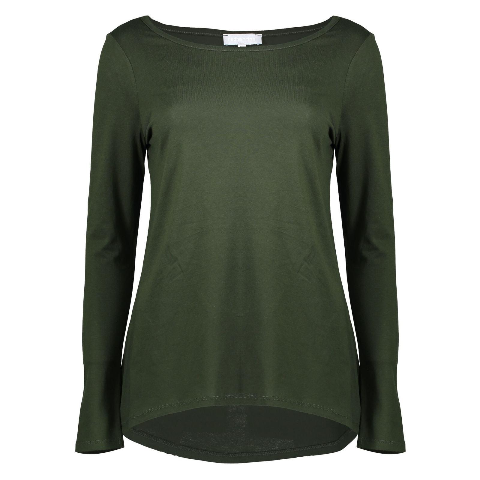 تی شرت نخی آستین بلند زنانه - رد هرینگ - سبز - 1