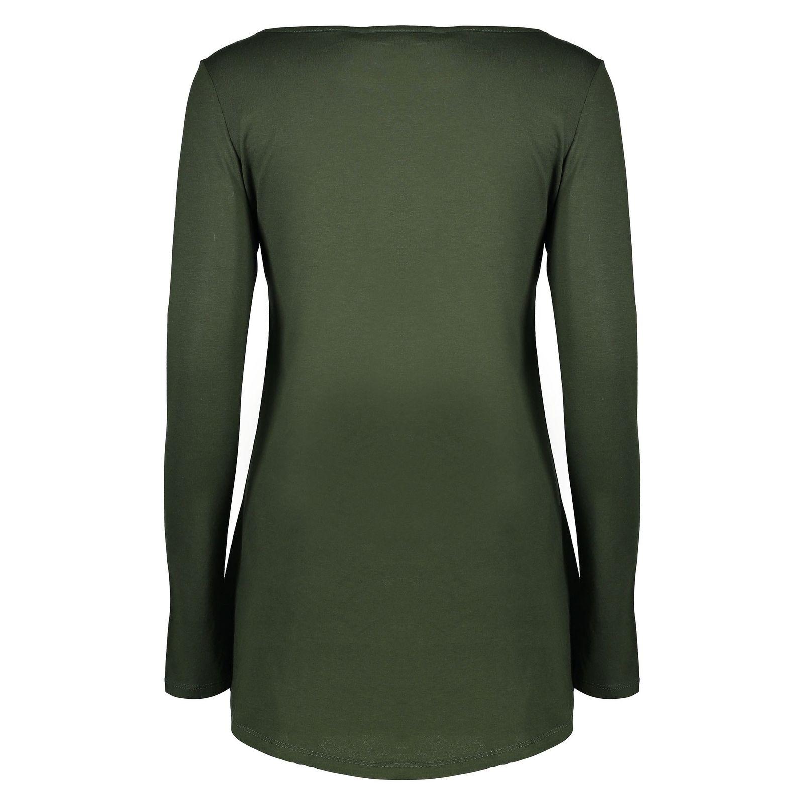 تی شرت نخی آستین بلند زنانه - رد هرینگ - سبز - 2