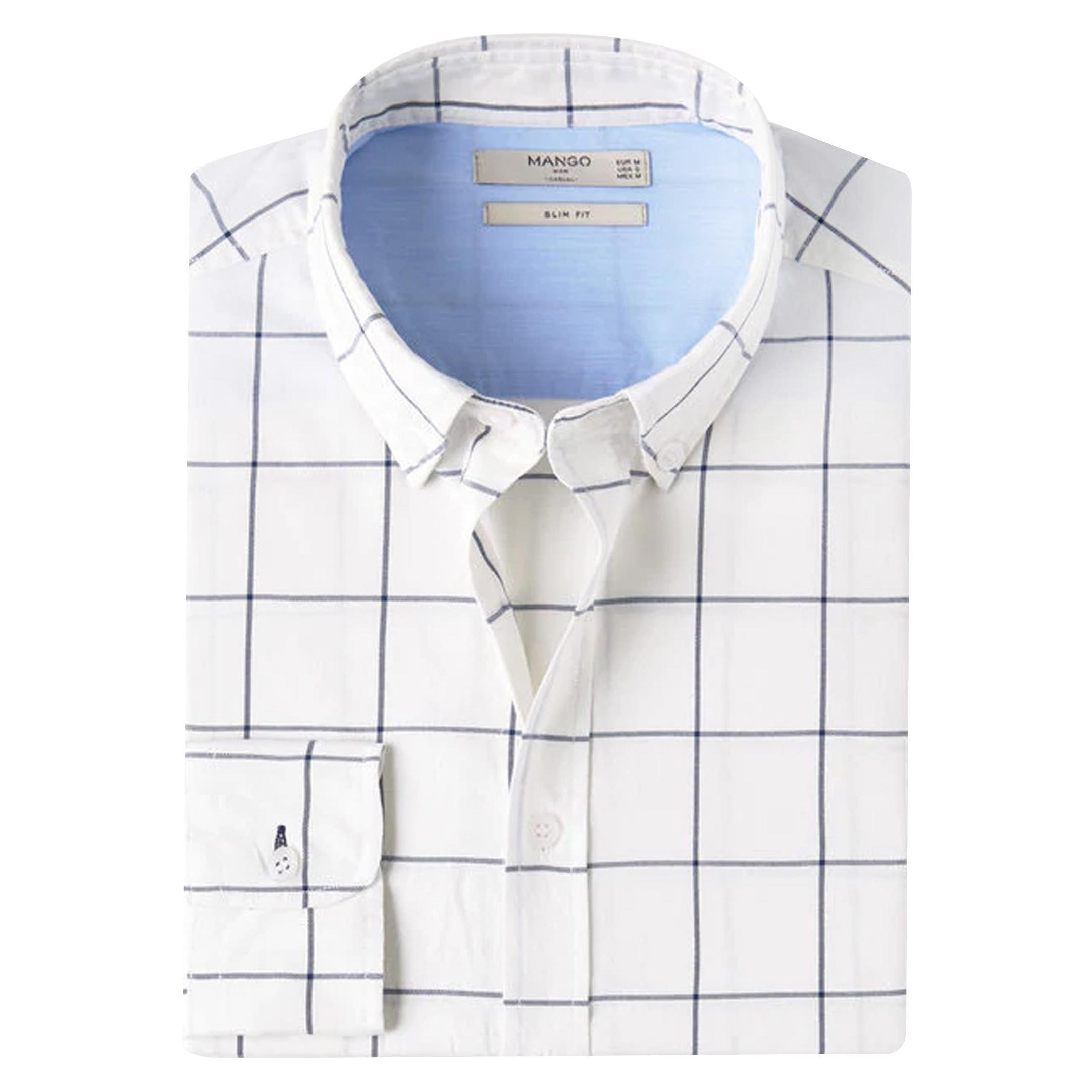 پیراهن نخی آستین بلند مردانه - مانگو - شيري - 3