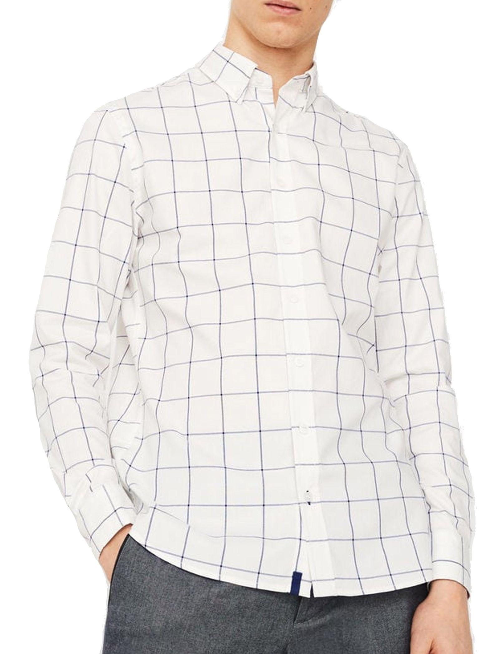 پیراهن نخی آستین بلند مردانه - مانگو - شيري - 1