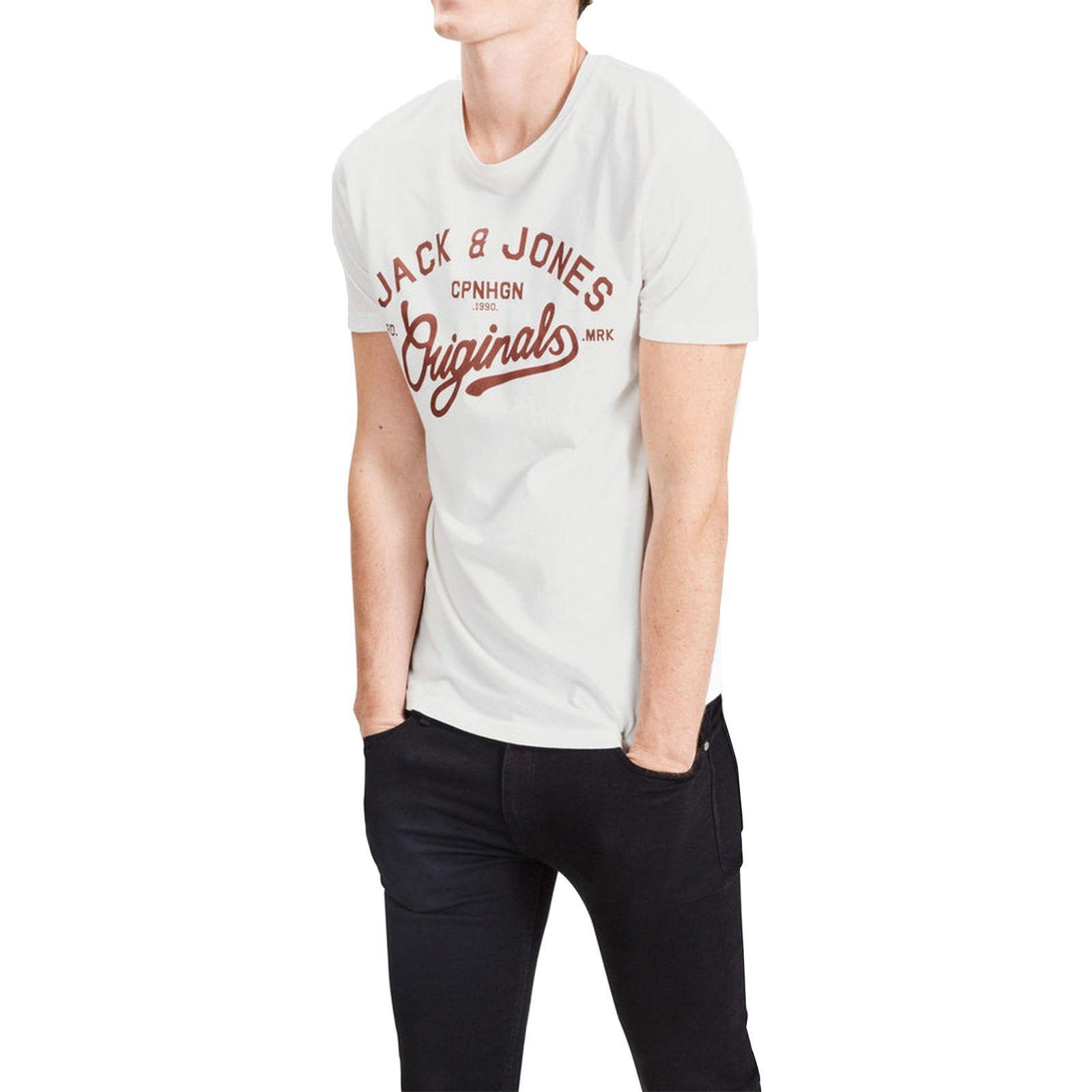 تی شرت نخی یقه گرد مردانه - جک اند جونز - سفيد - 1