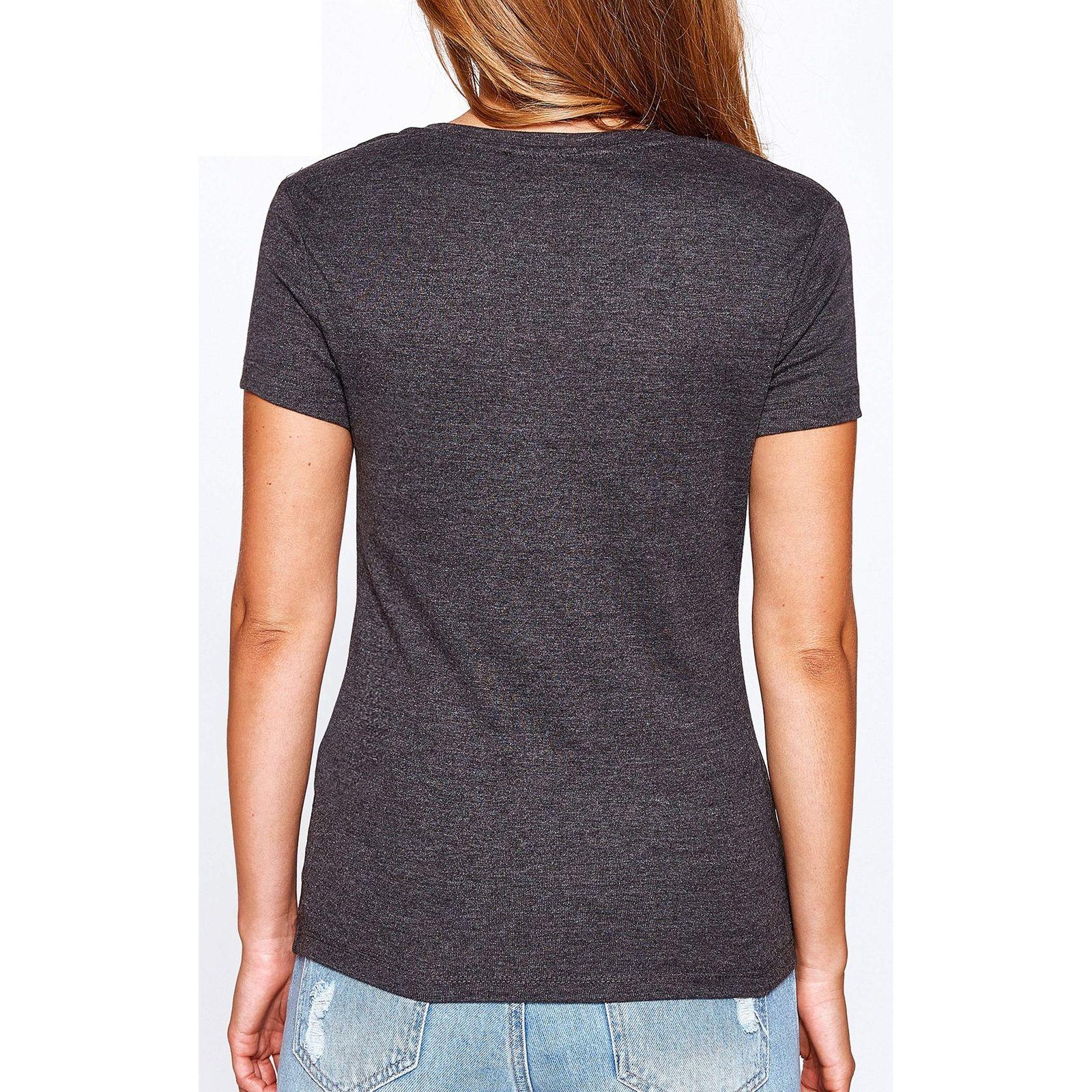 تی شرت نخی یقه هفت زنانه - کوتون - زغالي - 2